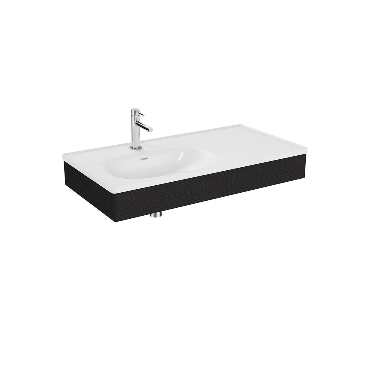 Equal Set Möbelwaschtisch asymmetrisch, 100 cm, mit Holzblende, Weiß Hochglanz/Schwarz-Eiche