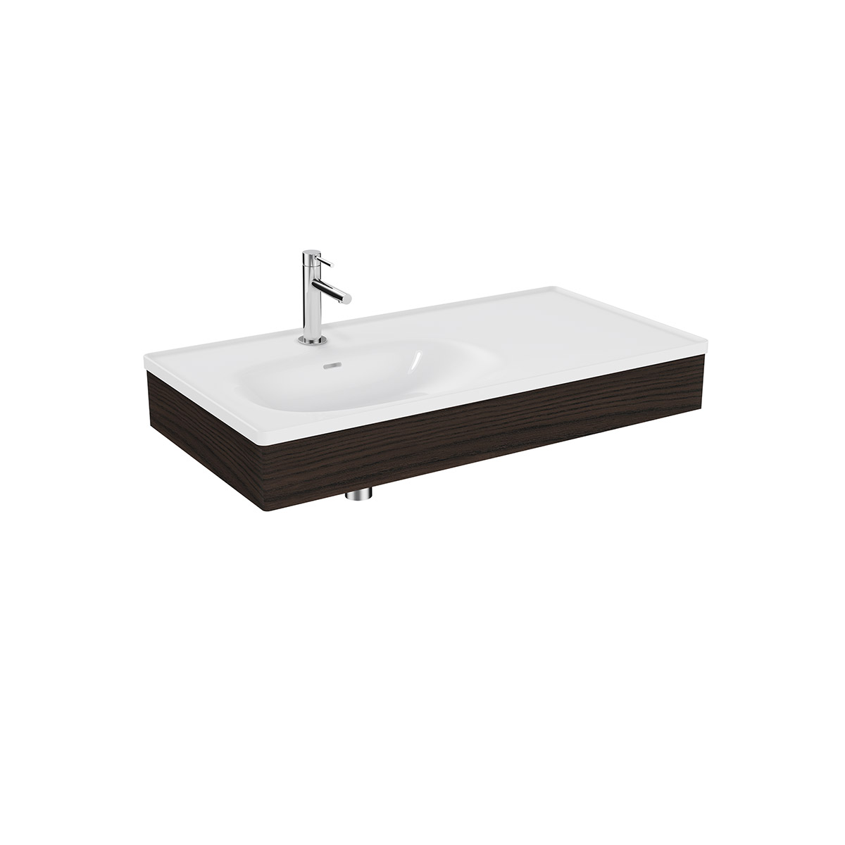 Equal Set Möbelwaschtisch asymmetrisch, 100 cm, mit Holzblende, Weiß Hochglanz/Ulme