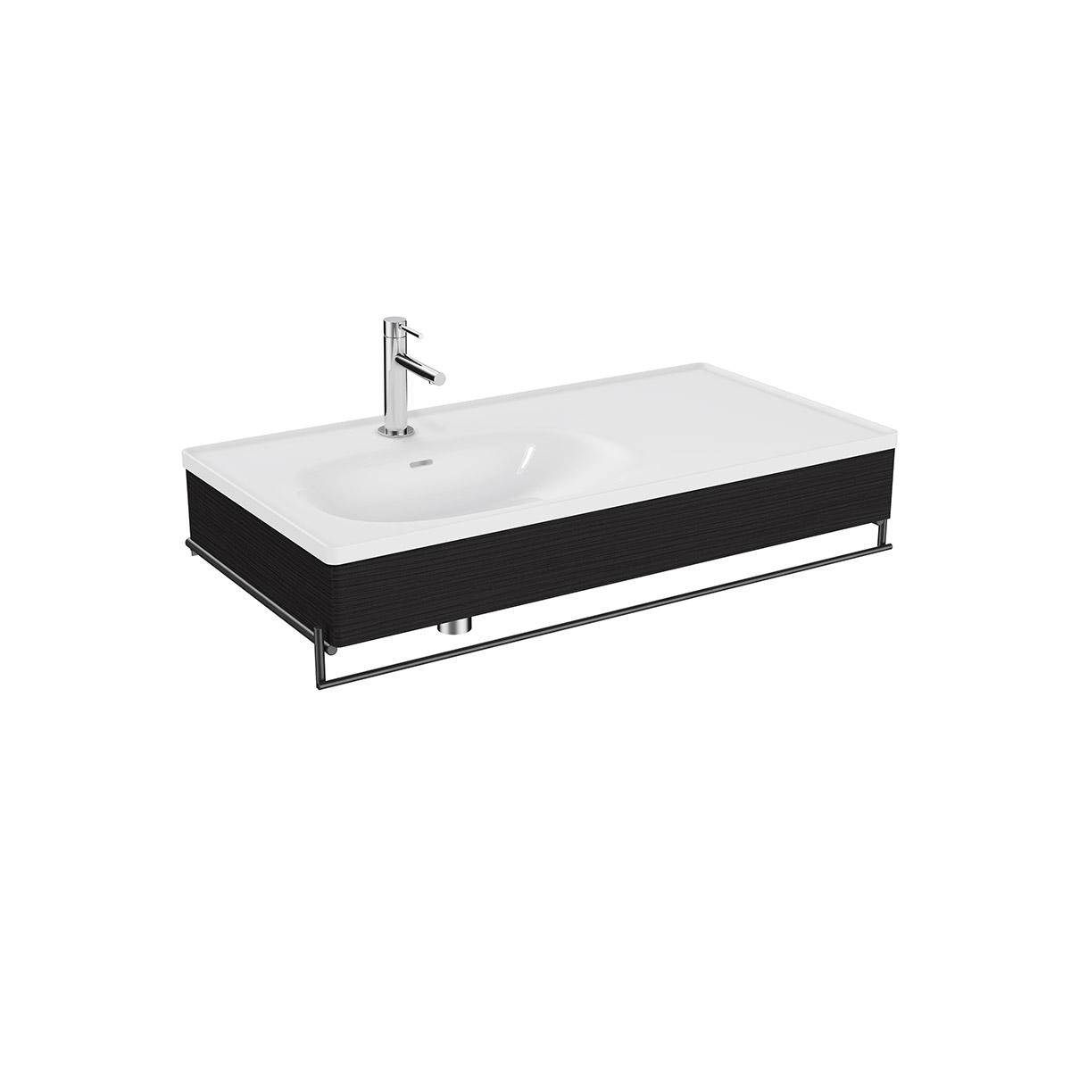 Equal Set Möbelwaschtisch asymmetrisch, 100 cm, mit Holzblende und Handtuchhalter, Weiß Hochglanz/Schwarz-Eiche