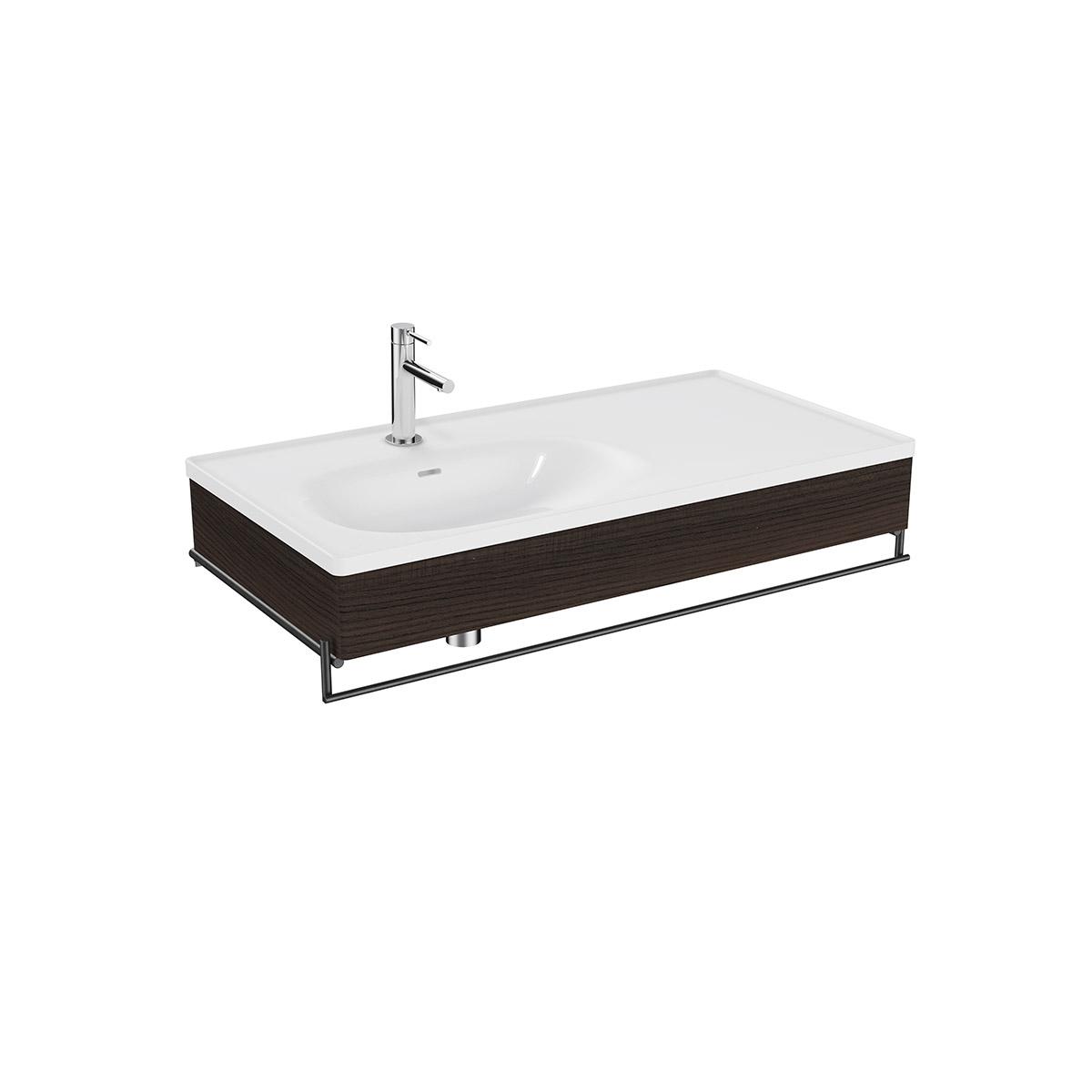 Equal Set Möbelwaschtisch asymmetrisch, 100 cm, mit Holzblende und Handtuchhalter, Weiß Hochglanz/Ulme