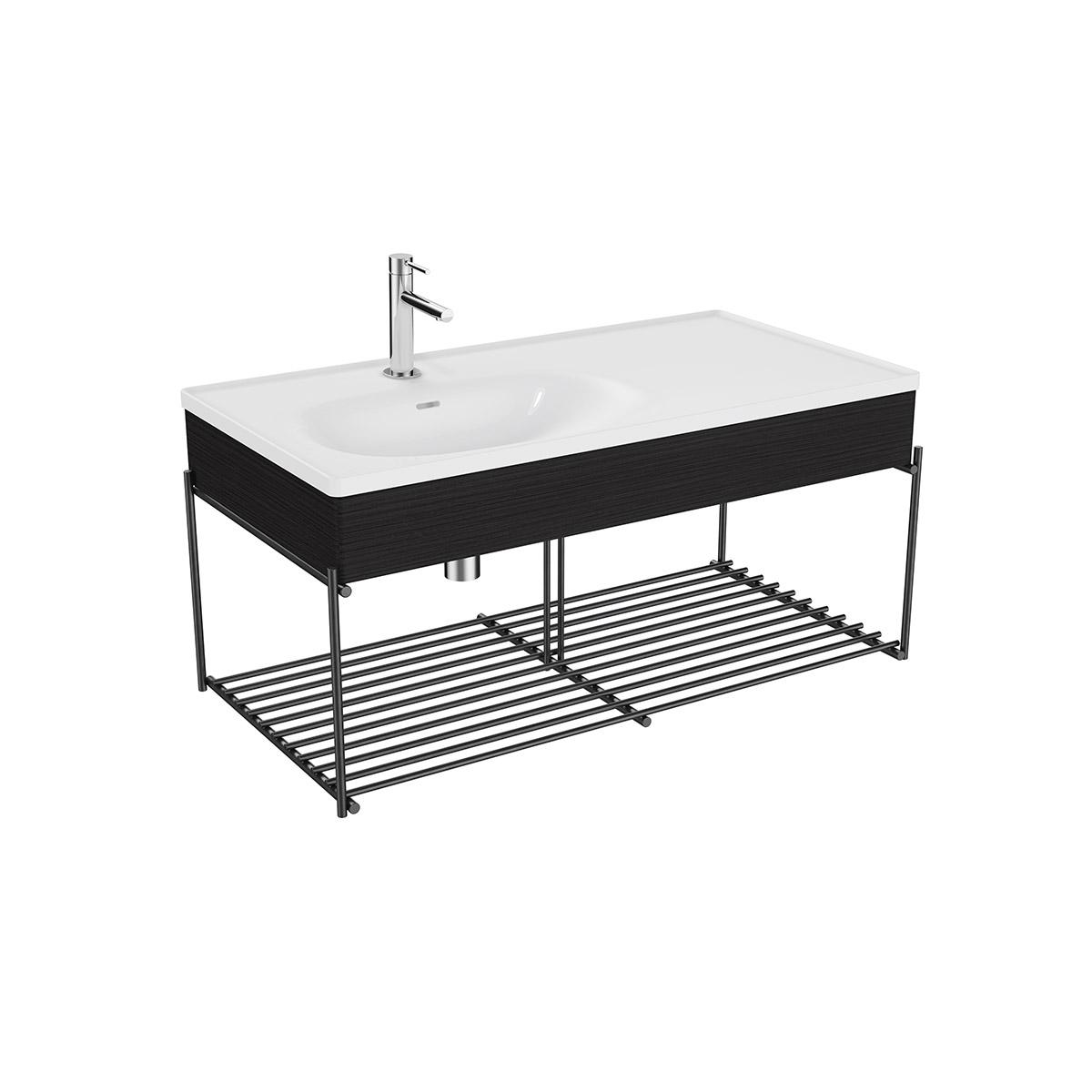 Equal Set Möbelwaschtisch asymmetrisch, 100 cm, mit Holzblende und Ablagegitter, Weiß Hochglanz/Schwarz-Eiche