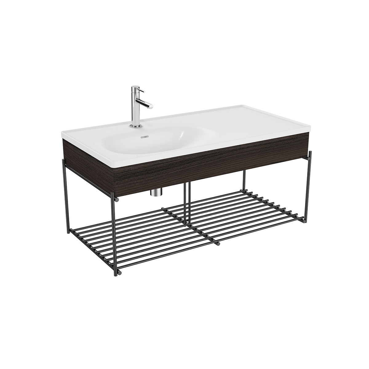 Equal Set Möbelwaschtisch asymmetrisch, 100 cm mit Holzblende und Ablagegitter, Weiß Hochglanz/Ulme