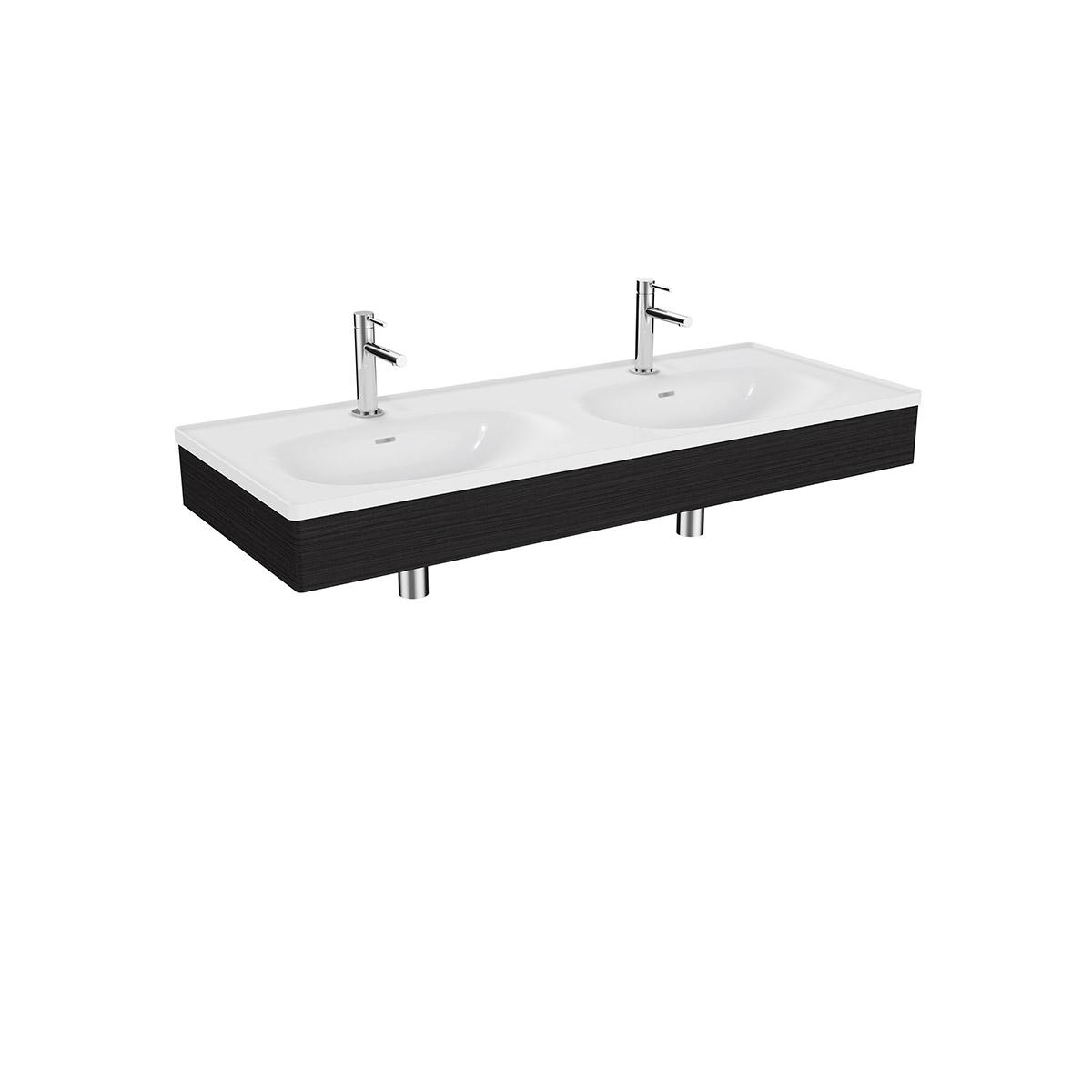 Equal Set Doppelwaschtisch, 130 cm, mit Holzblende, Weiß Hochglanz/Schwarz-Eiche
