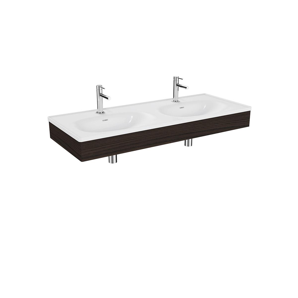 Equal Set Doppelwaschtisch, 130 cm, mit Holzblende, Weiß Hochglanz/Ulme