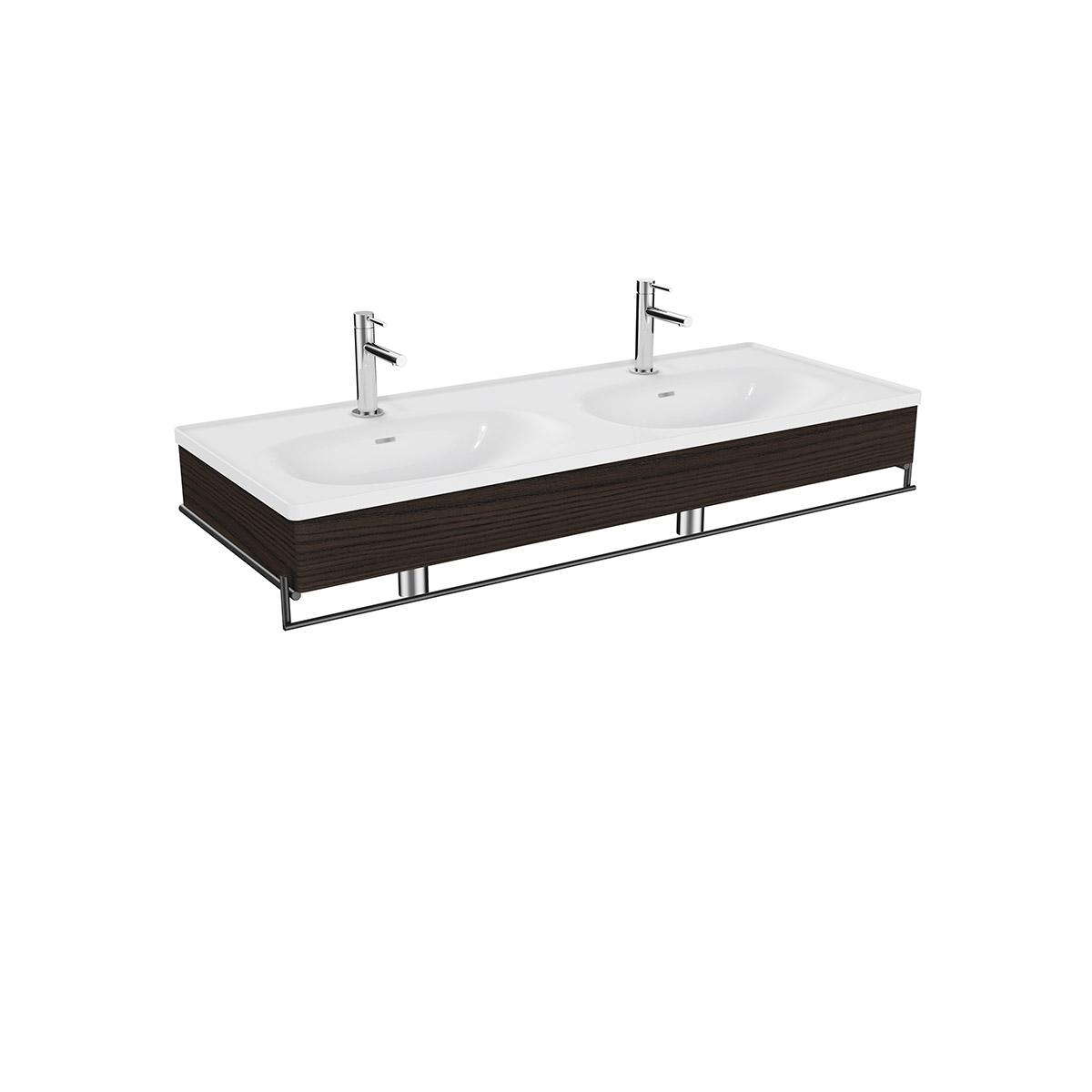 Equal Set Doppelwaschtisch, 130 cm, mit Holzblende und Handtuchhalter, Weiß Hochglanz/Ulme