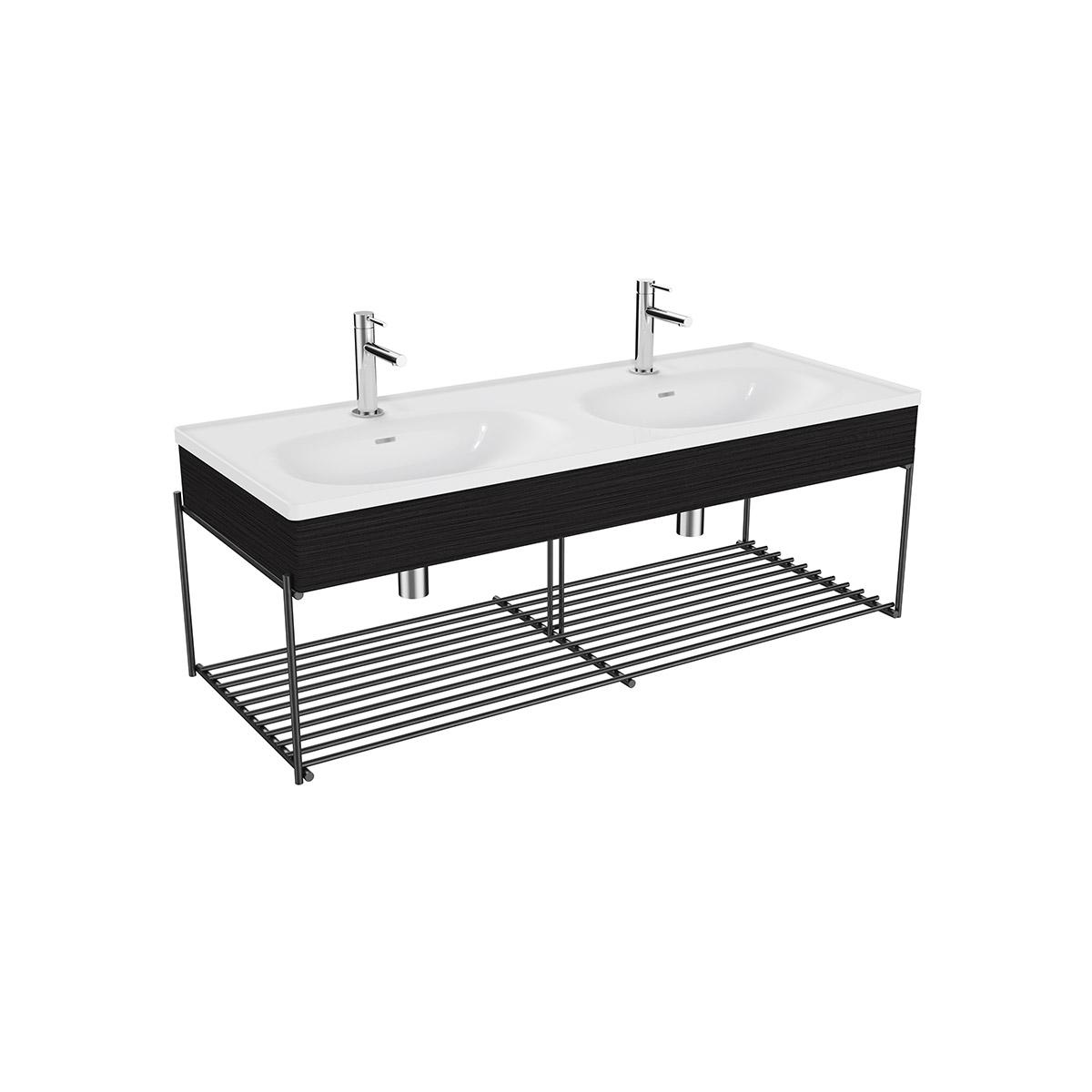 Equal Set Doppelwaschtisch, 130 cm, mit Holzblende und Ablagegitter, Weiß Hochglanz/Schwarz-Eiche