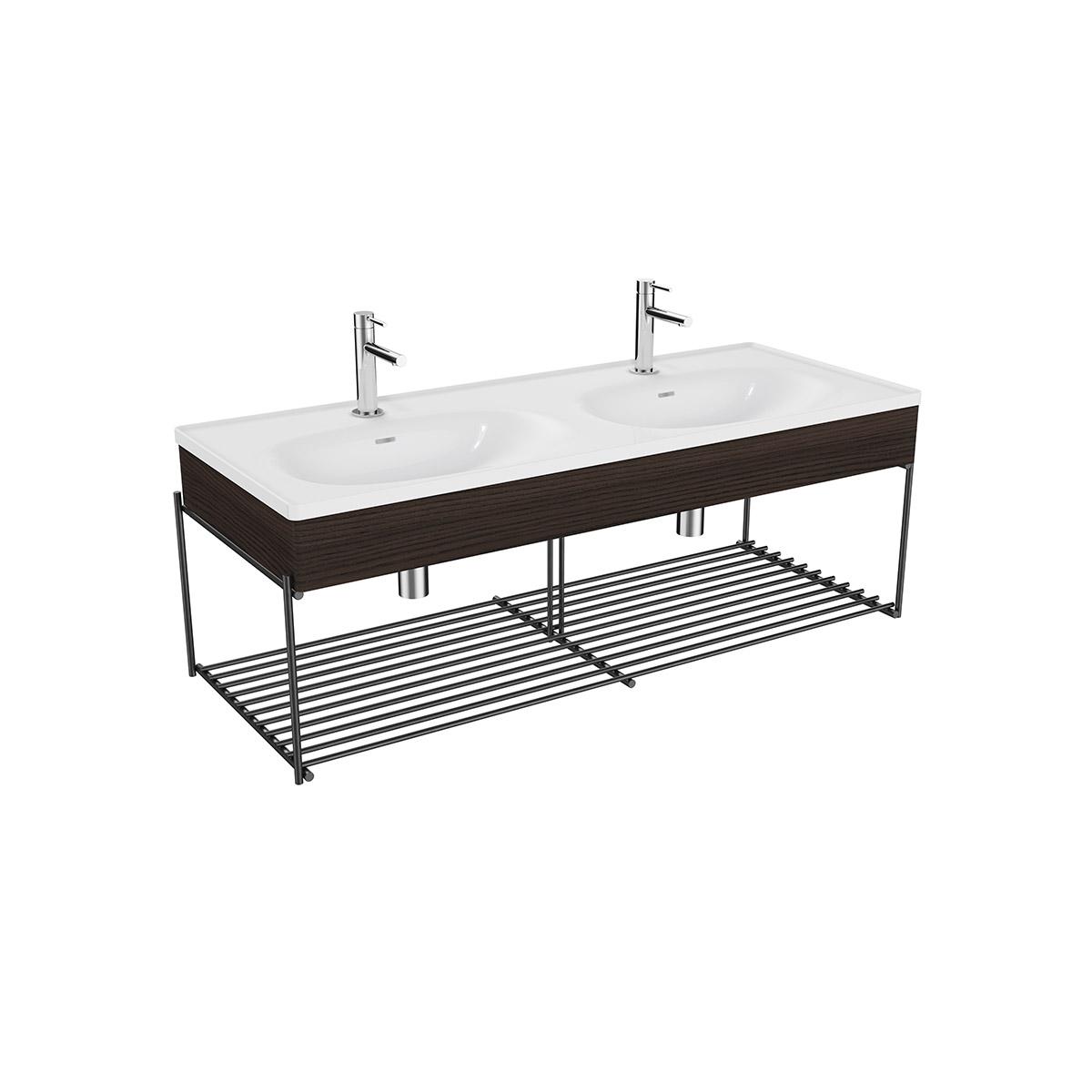 Equal Set Doppelwaschtisch, 130 cm, mit Holzblende und Ablagegitter, Weiß Hochglanz/Ulme