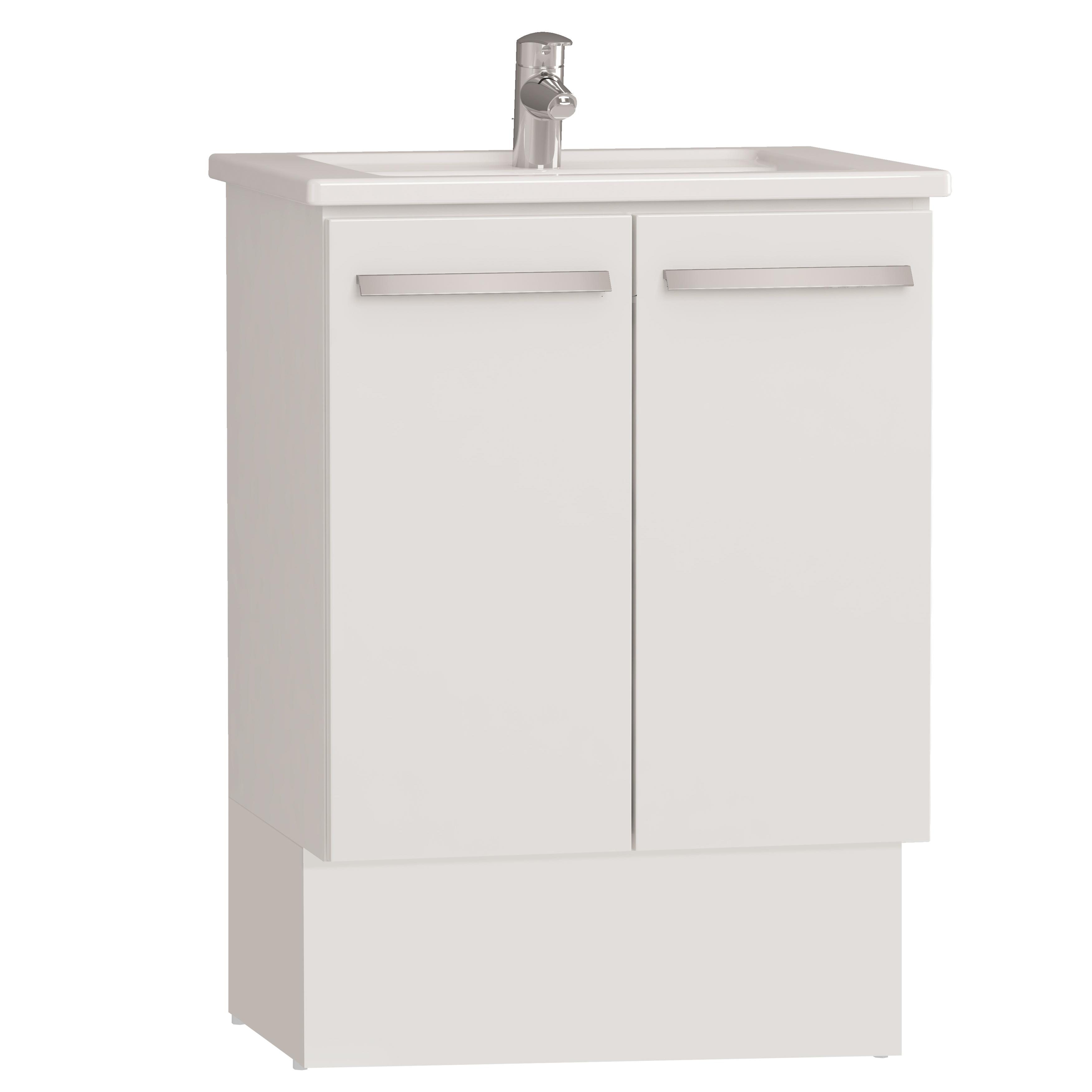 Integra socle pour meuble avec plan céramique & portes, 60 cm, blanc haute brillance