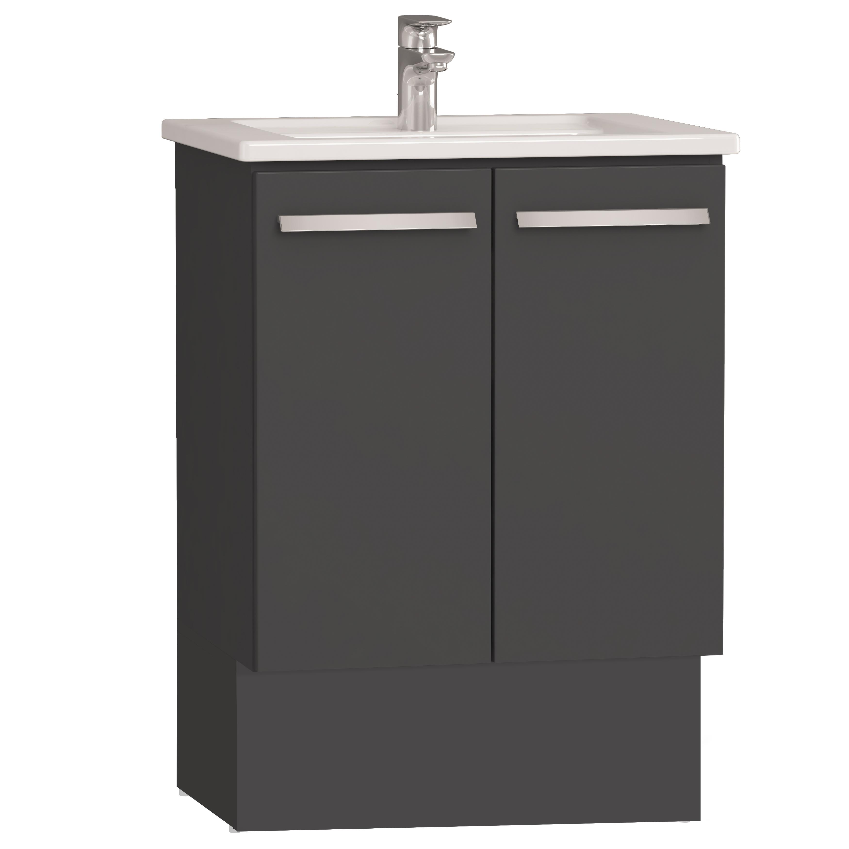 Integra socle pour meuble avec plan céramique & portes, 60 cm, anthraciteacite haute brillance