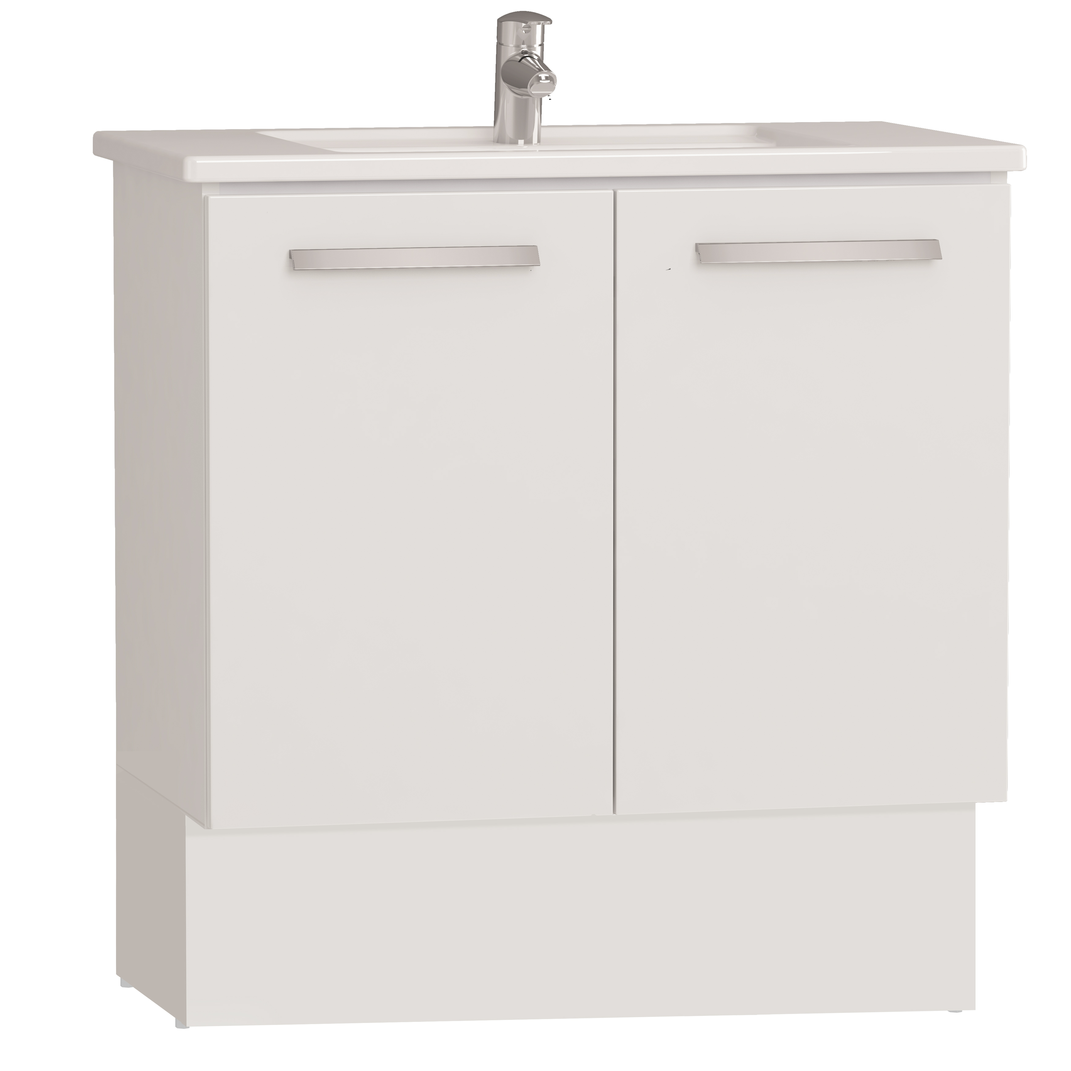 Integra socle pour meuble avec plan céramique & portes, 80 cm, blanc haute brillance