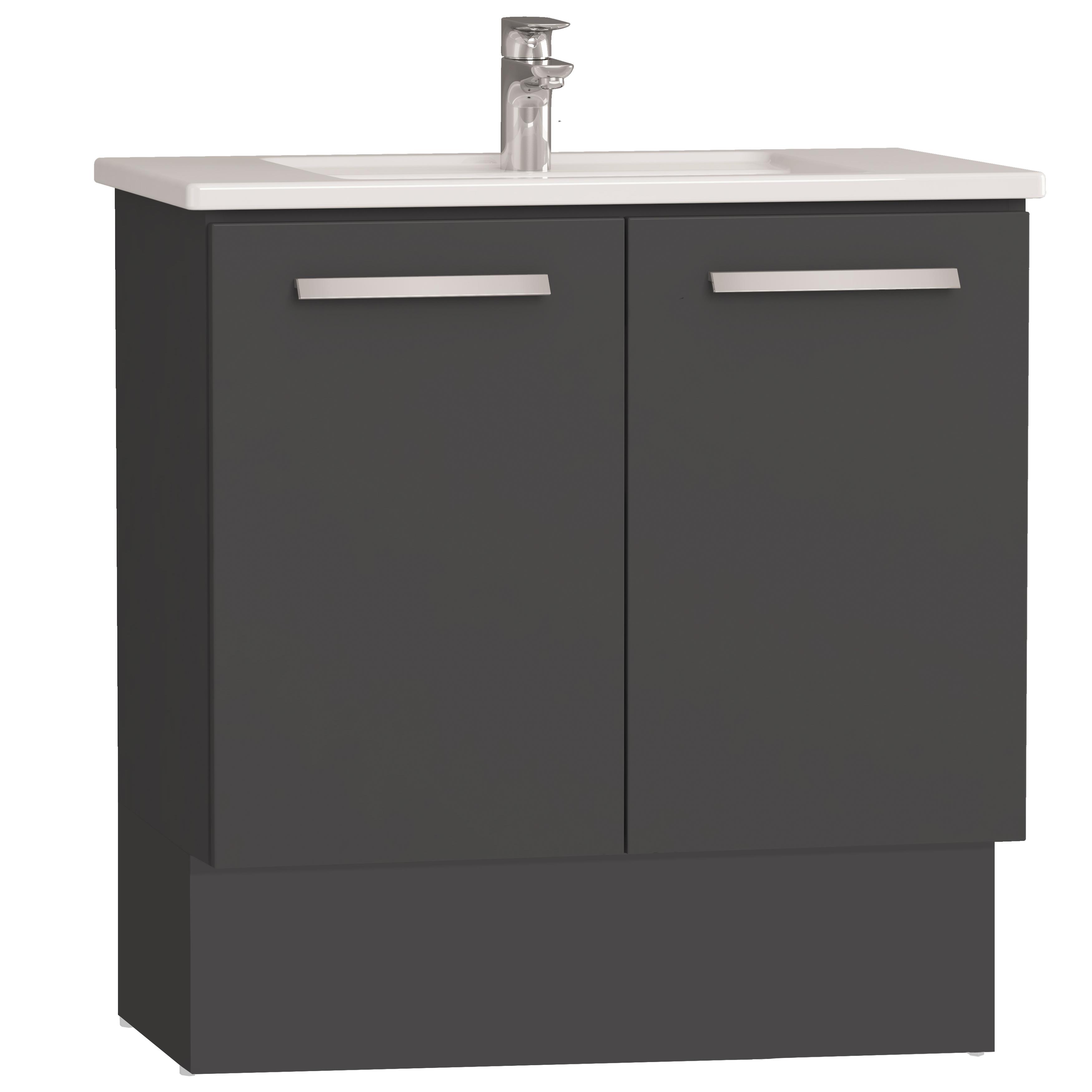 Integra socle pour meuble avec plan céramique & portes, 80 cm, anthraciteacite haute brillance