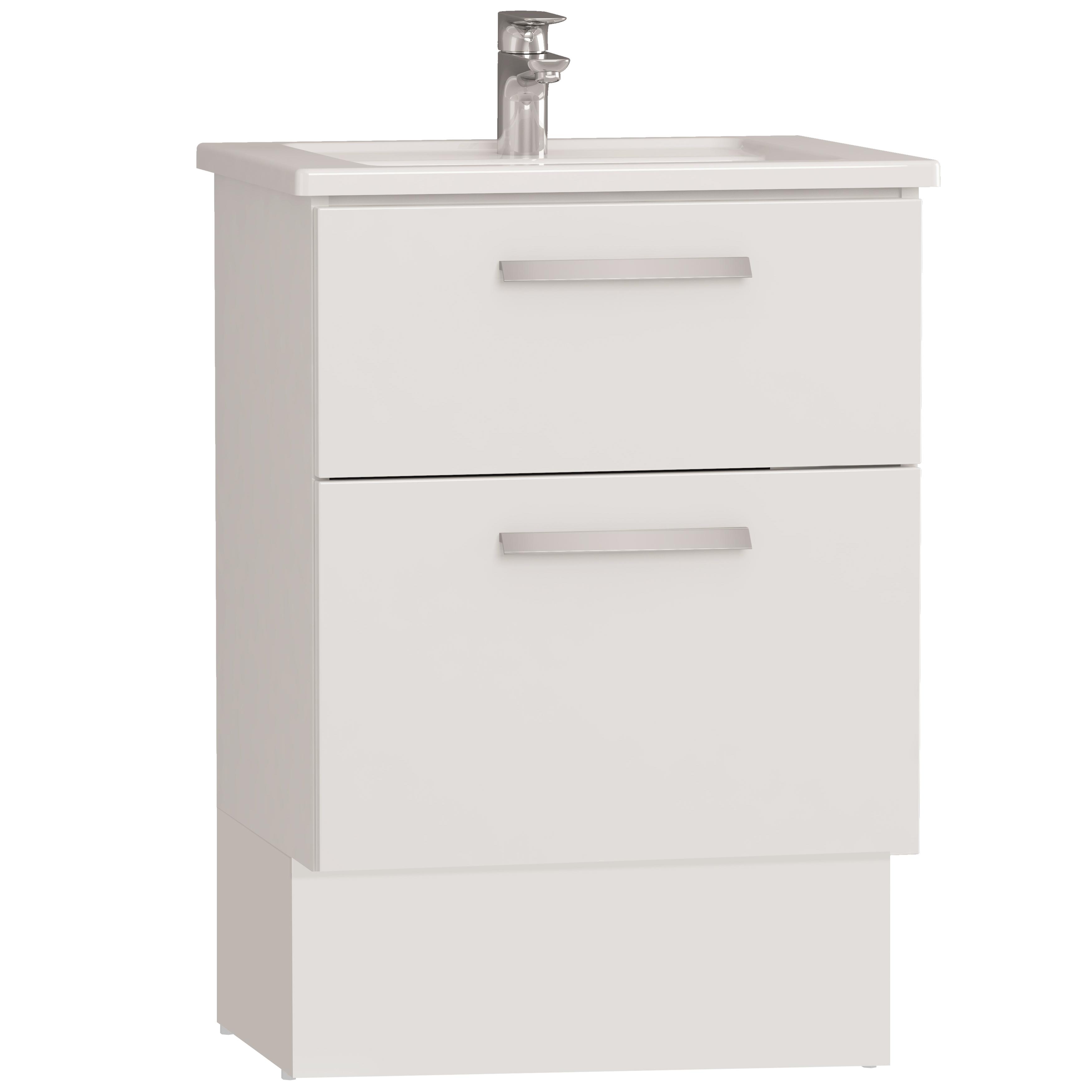 Integra socle pour meuble avec plan céramique avec deux tiroirs, 60 cm, blanc haute brillance