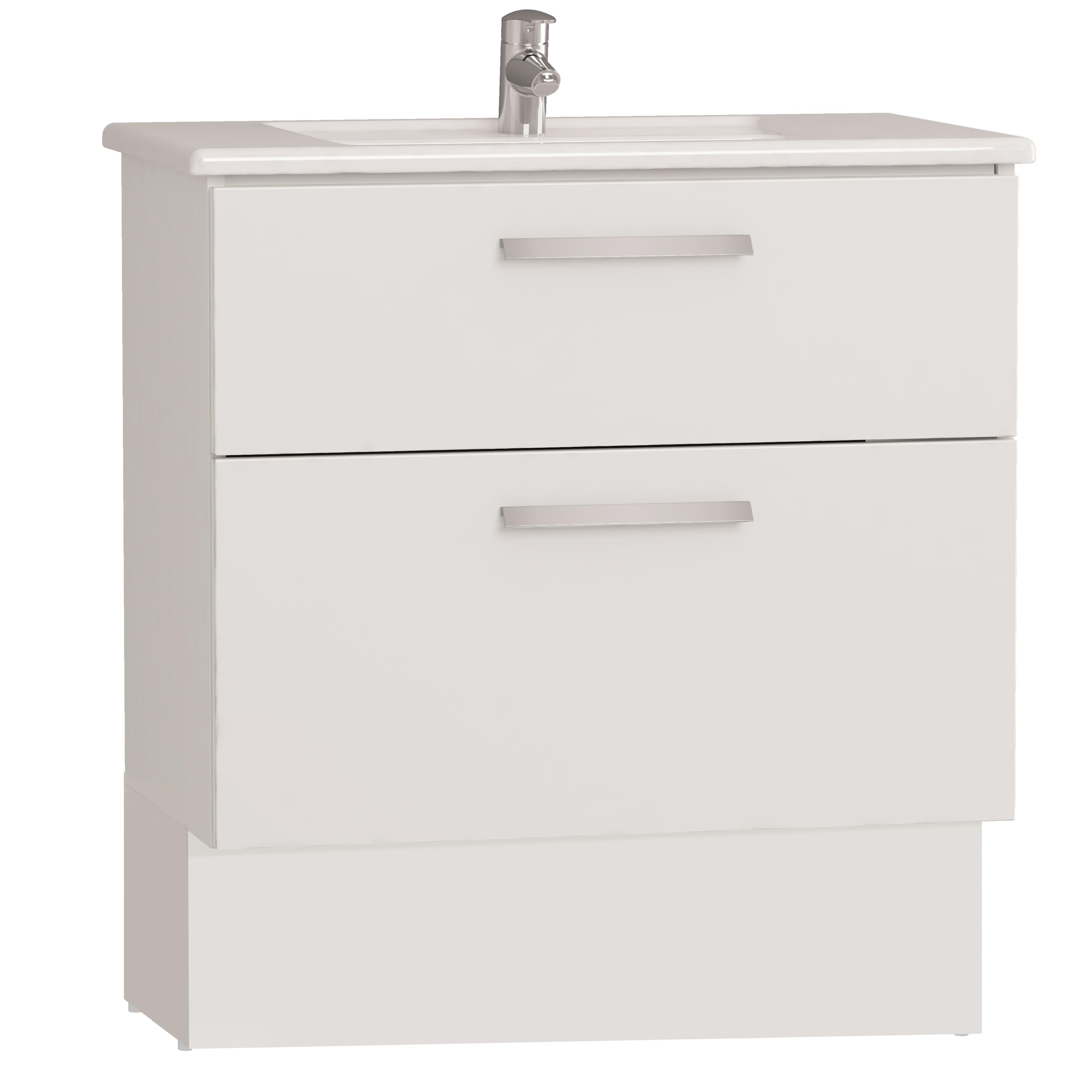Integra socle pour meuble avec plan céramique avec deux tiroirs, 80 cm, blanc haute brillance