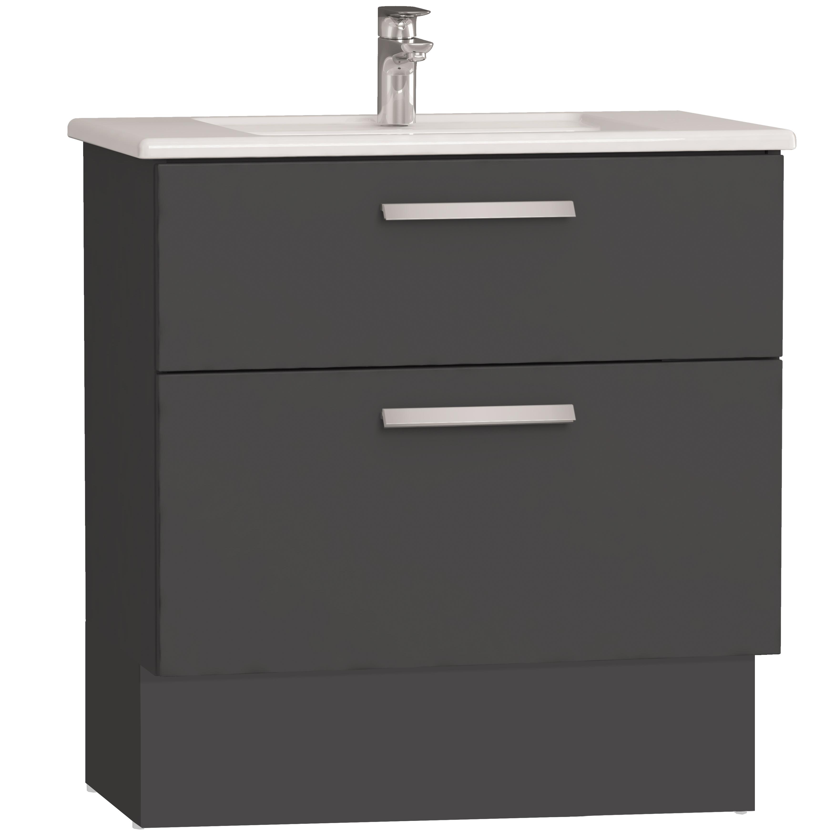 Integra socle pour meuble avec plan céramique avec deux tiroirs, 80 cm, anthraciteacite haute brillance