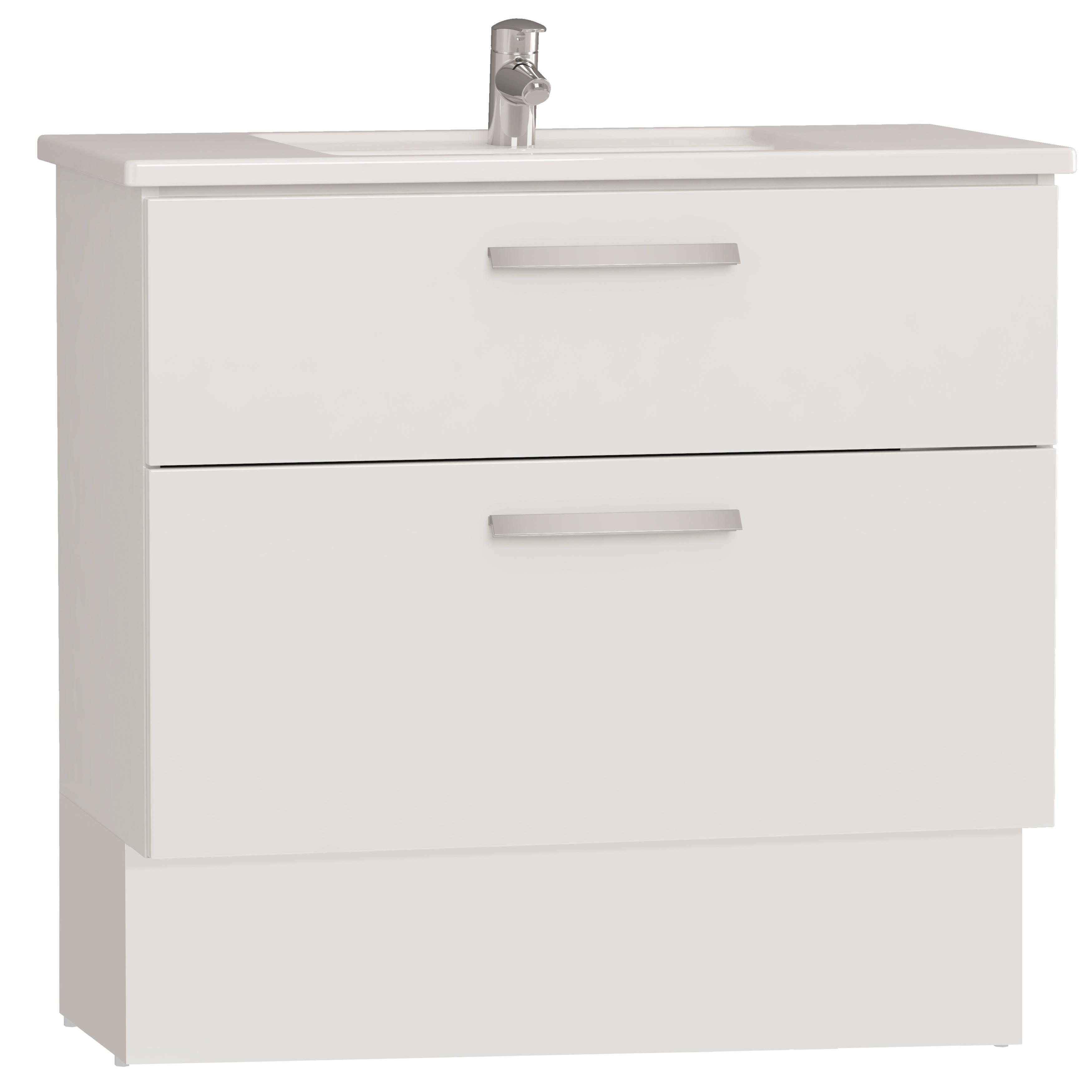 Integra socle pour meuble avec plan céramique avec deux tiroirs, 90 cm, blanc haute brillance