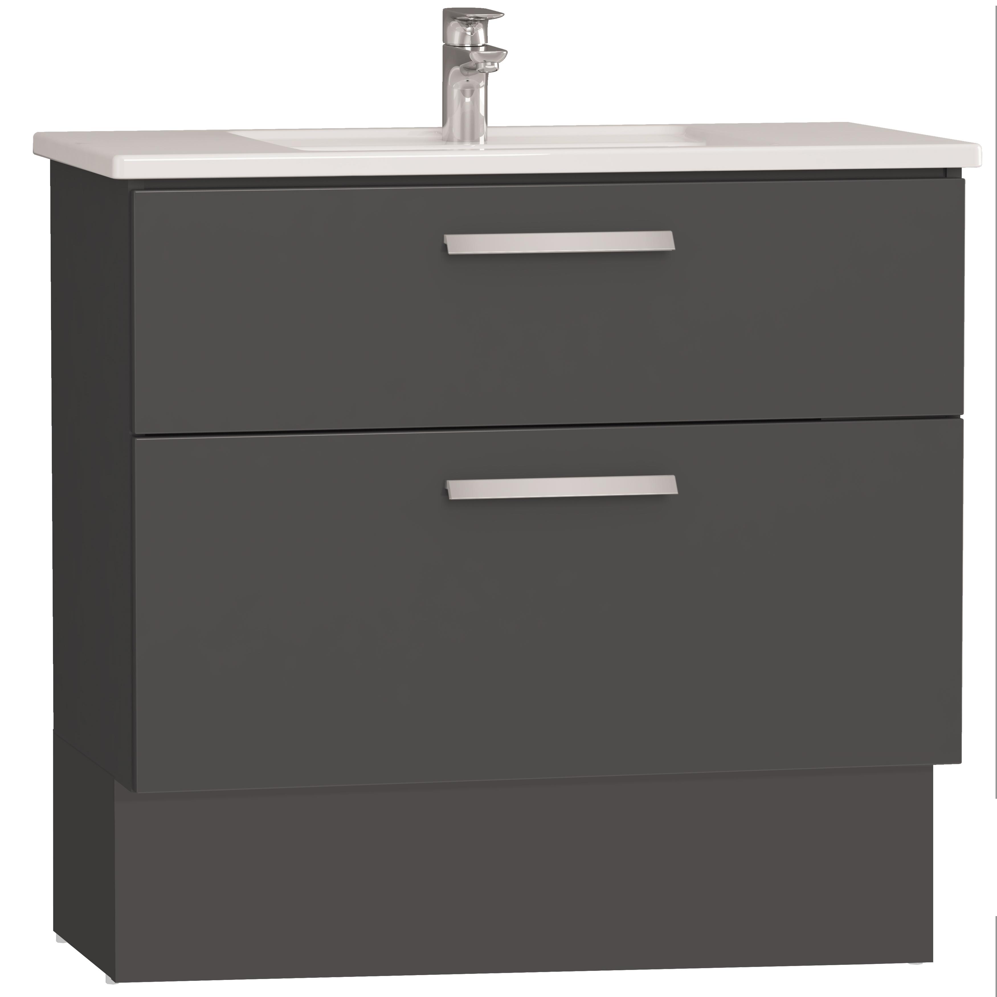Integra socle pour meuble avec plan céramique avec deux tiroirs, 90 cm, anthraciteacite haute brillance