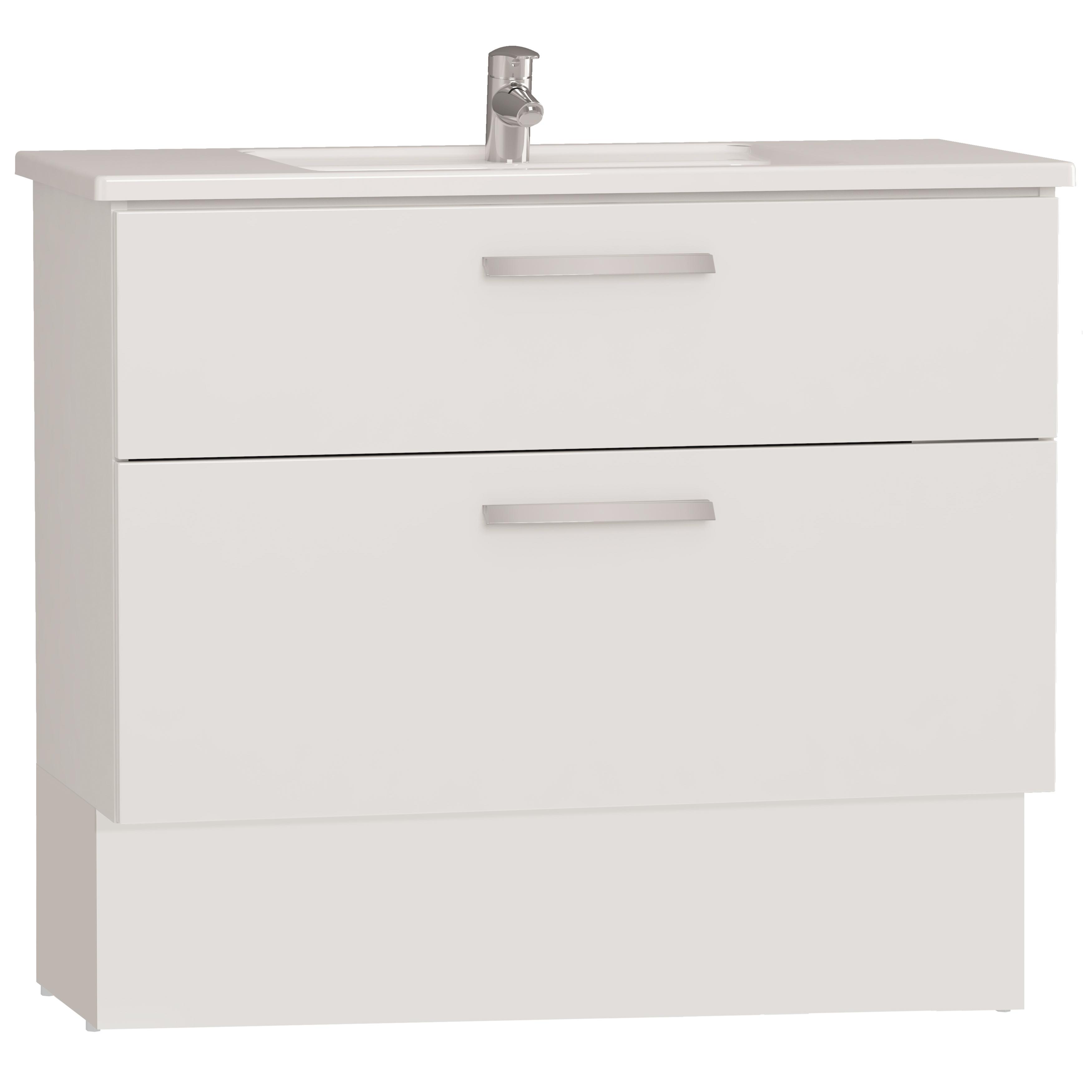 Integra socle pour meuble avec plan céramique avec deux tiroirs, 100 cm, blanc haute brillance