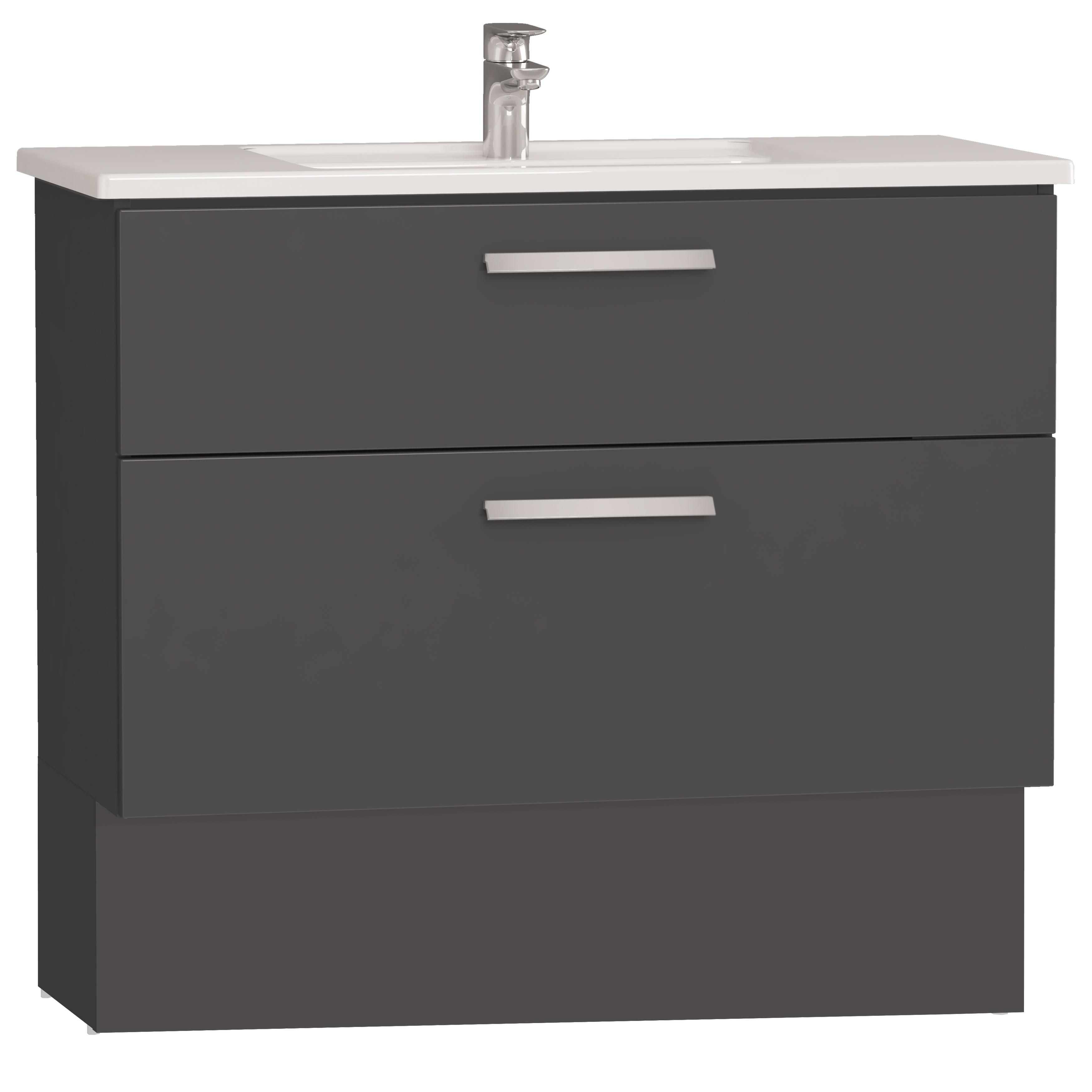Integra socle pour meuble avec plan céramique avec deux tiroirs, 100 cm, anthraciteacite haute brillance