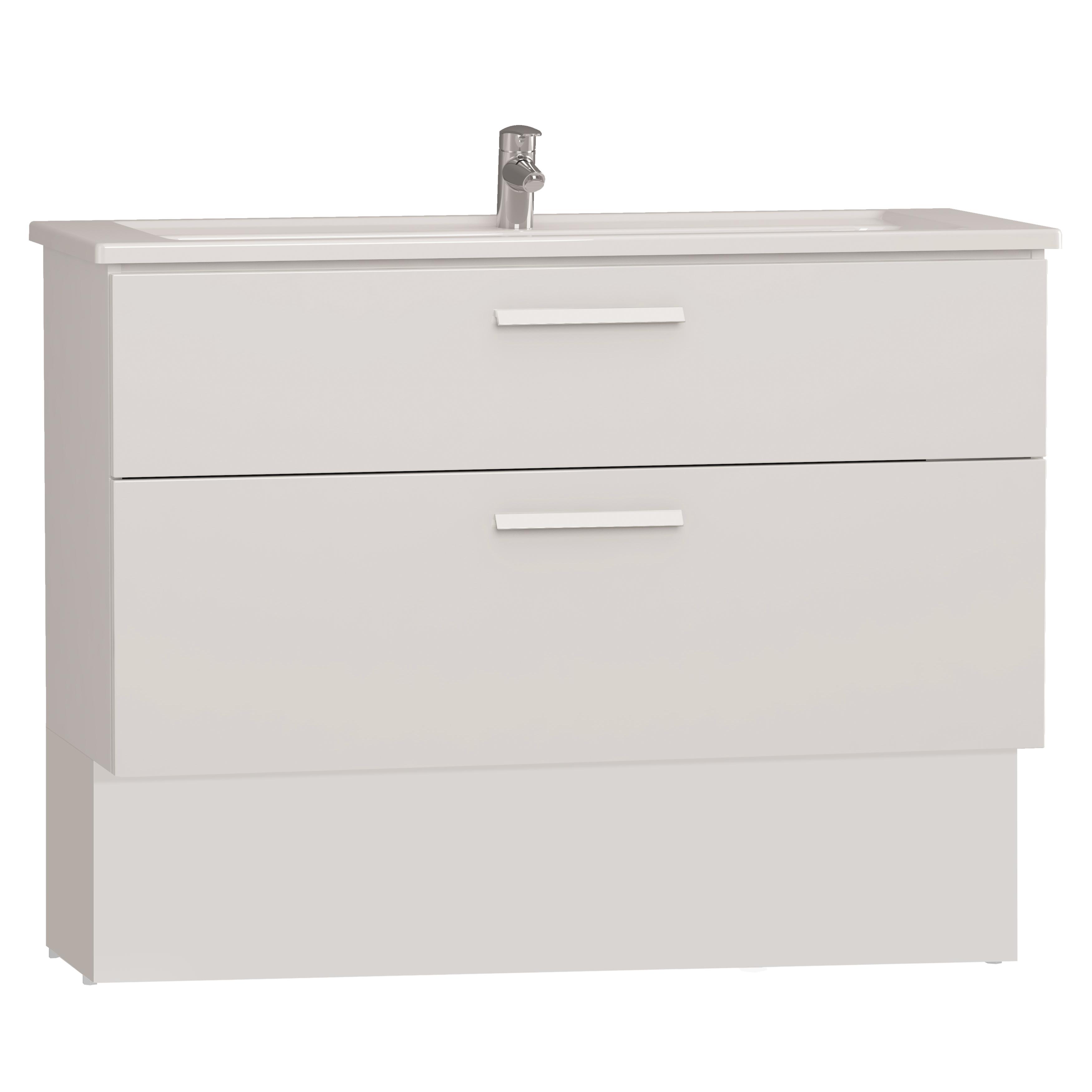 Integra socle pour meuble avec plan céramique avec deux tiroirs, 120 cm, blanc haute brillance