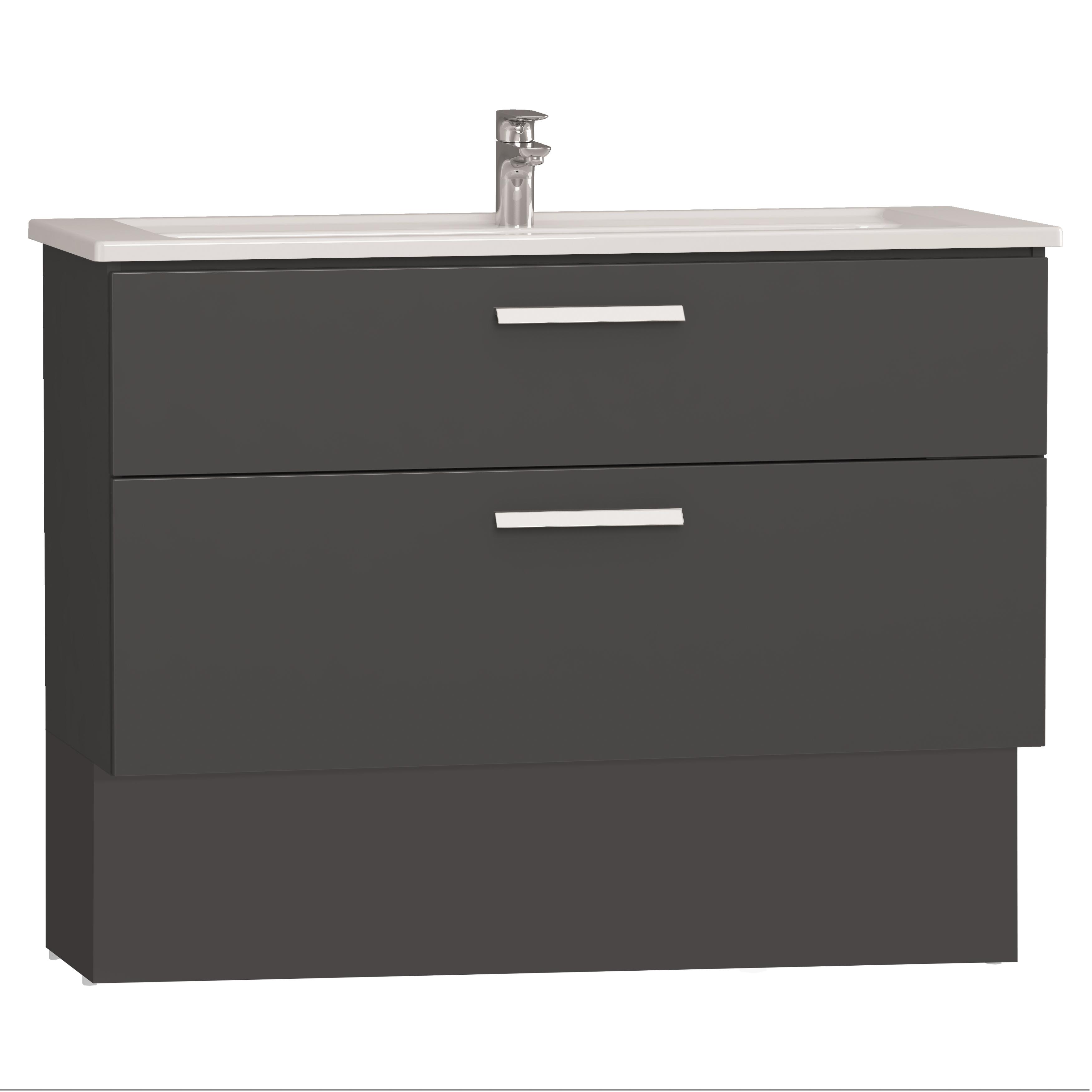 Integra socle pour meuble avec plan céramique avec deux tiroirs, 120 cm, anthraciteacite haute brillance