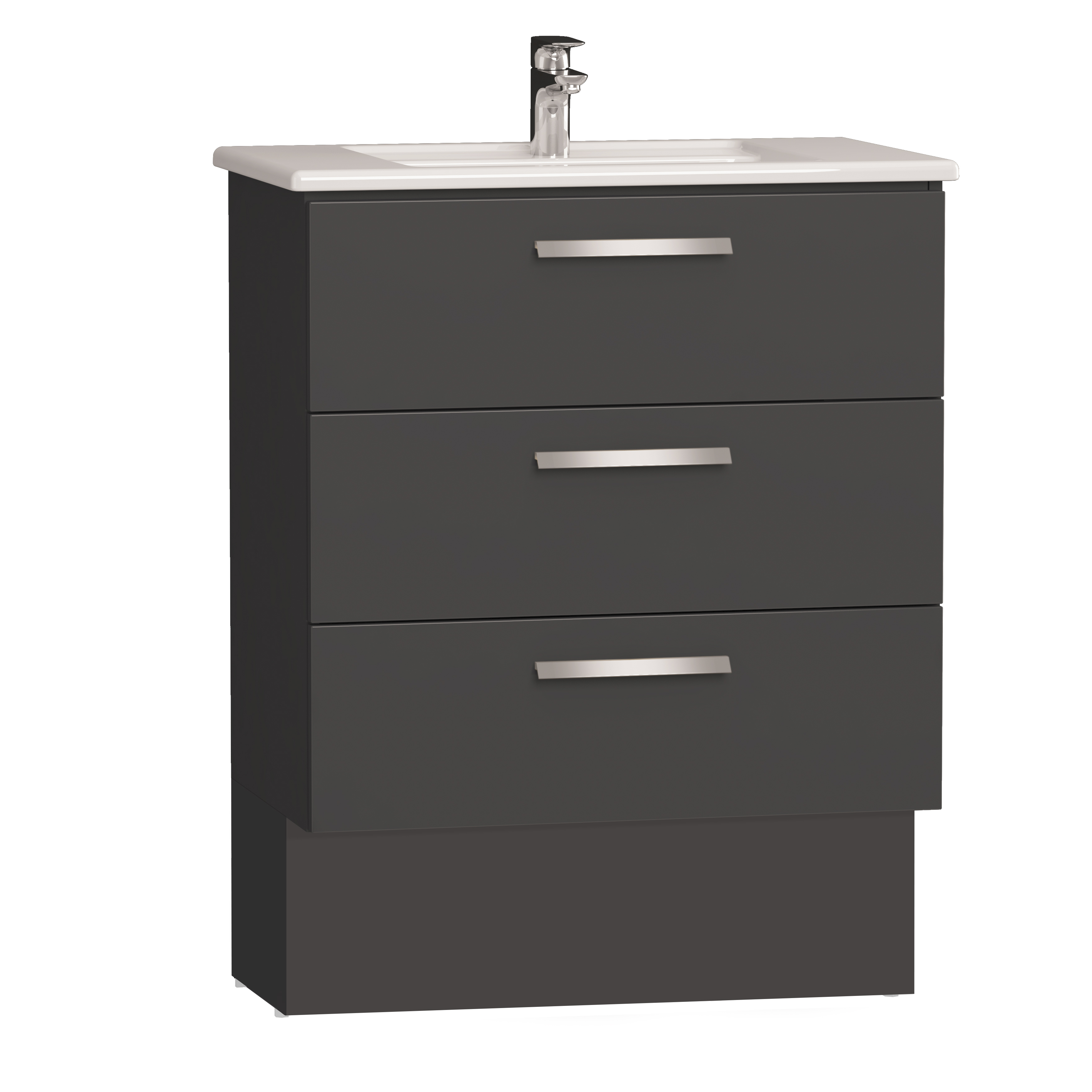 Integra socle pour meuble avec plan céramique et trois tiroirs, 80 cm, anthraciteacite haute brillance