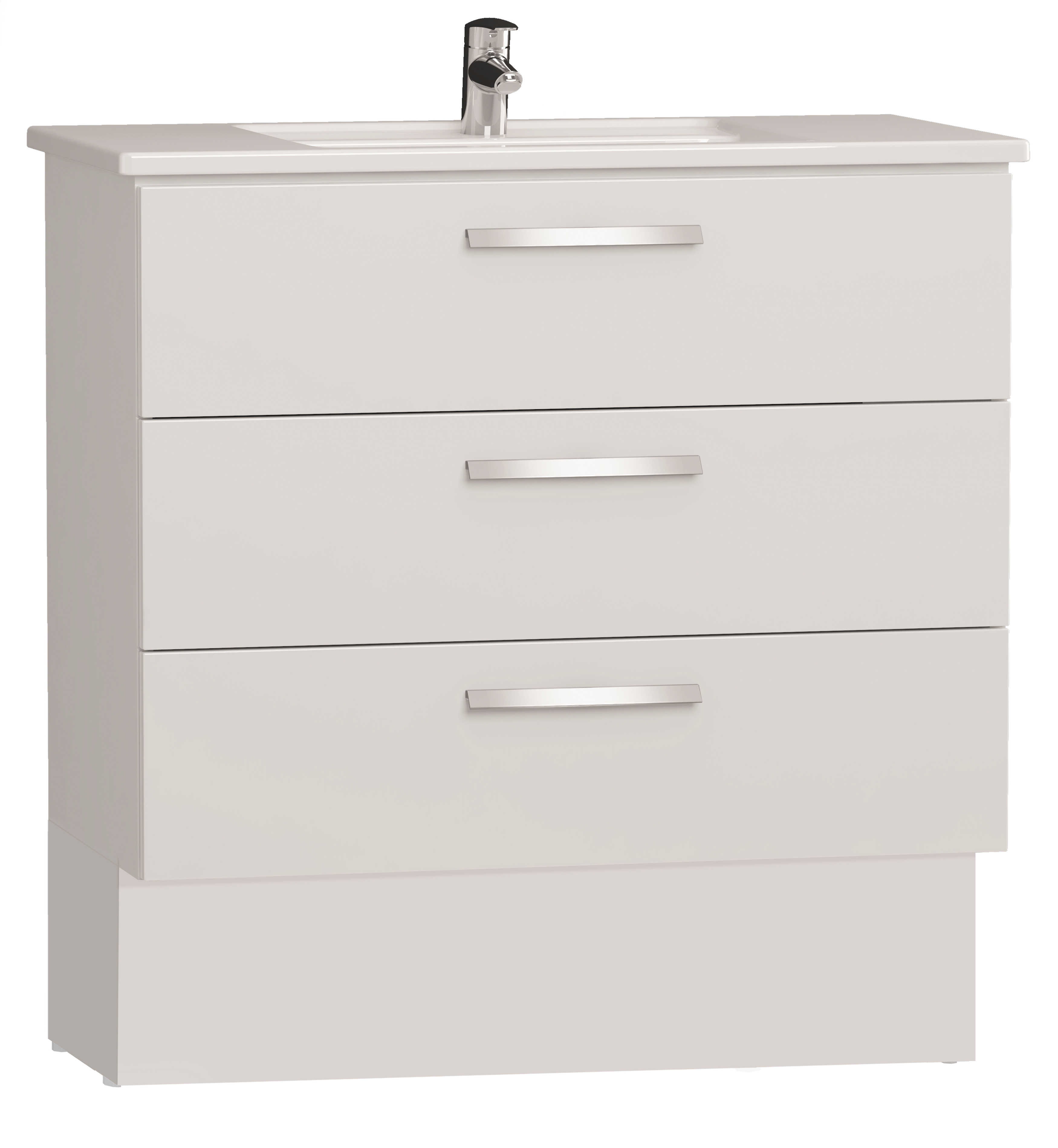 Integra socle pour meuble avec plan céramique et trois tiroirs, 90 cm, blanc haute brillance