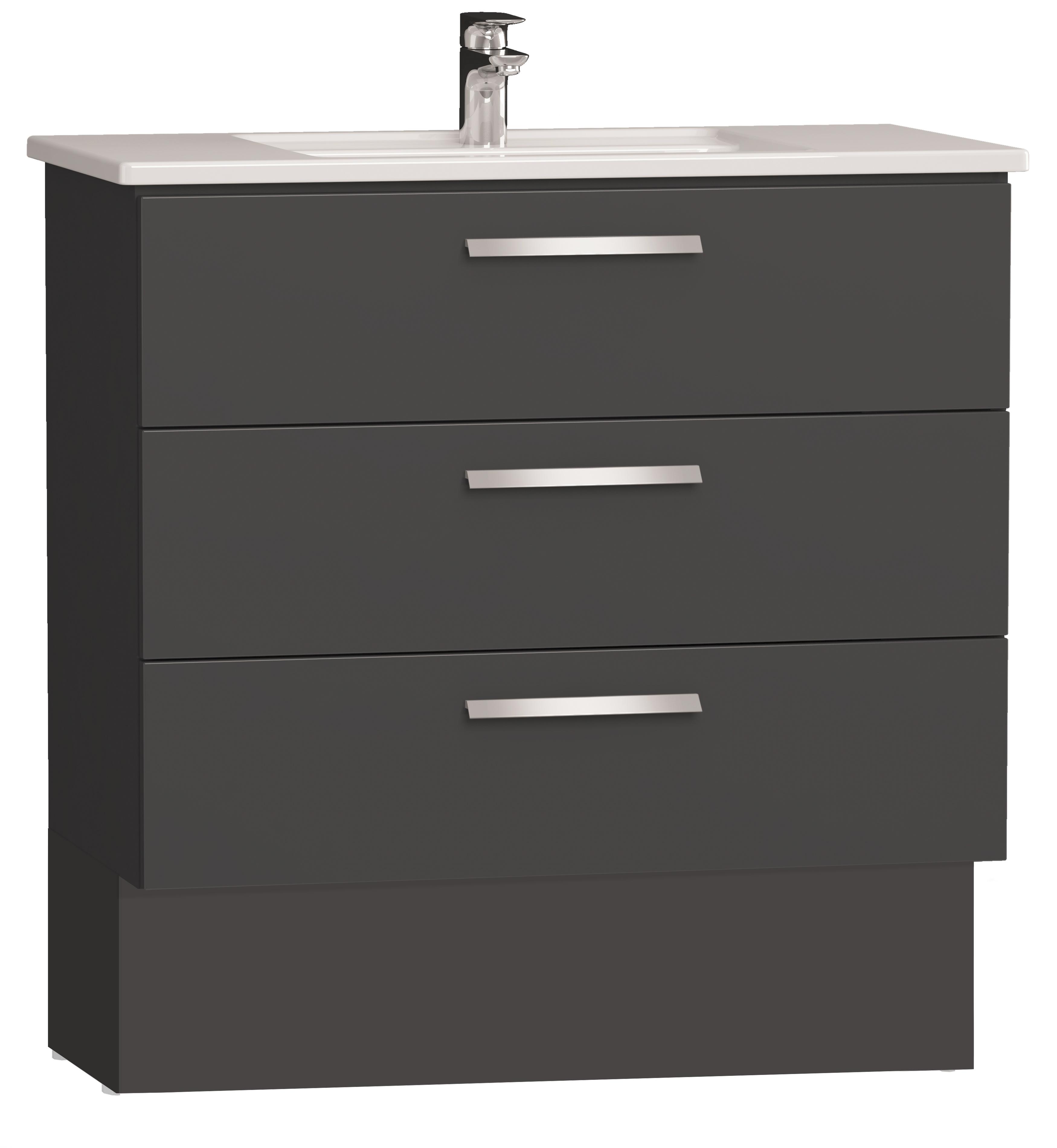 Integra socle pour meuble avec plan céramique et trois tiroirs, 90 cm, anthraciteacite haute brillance