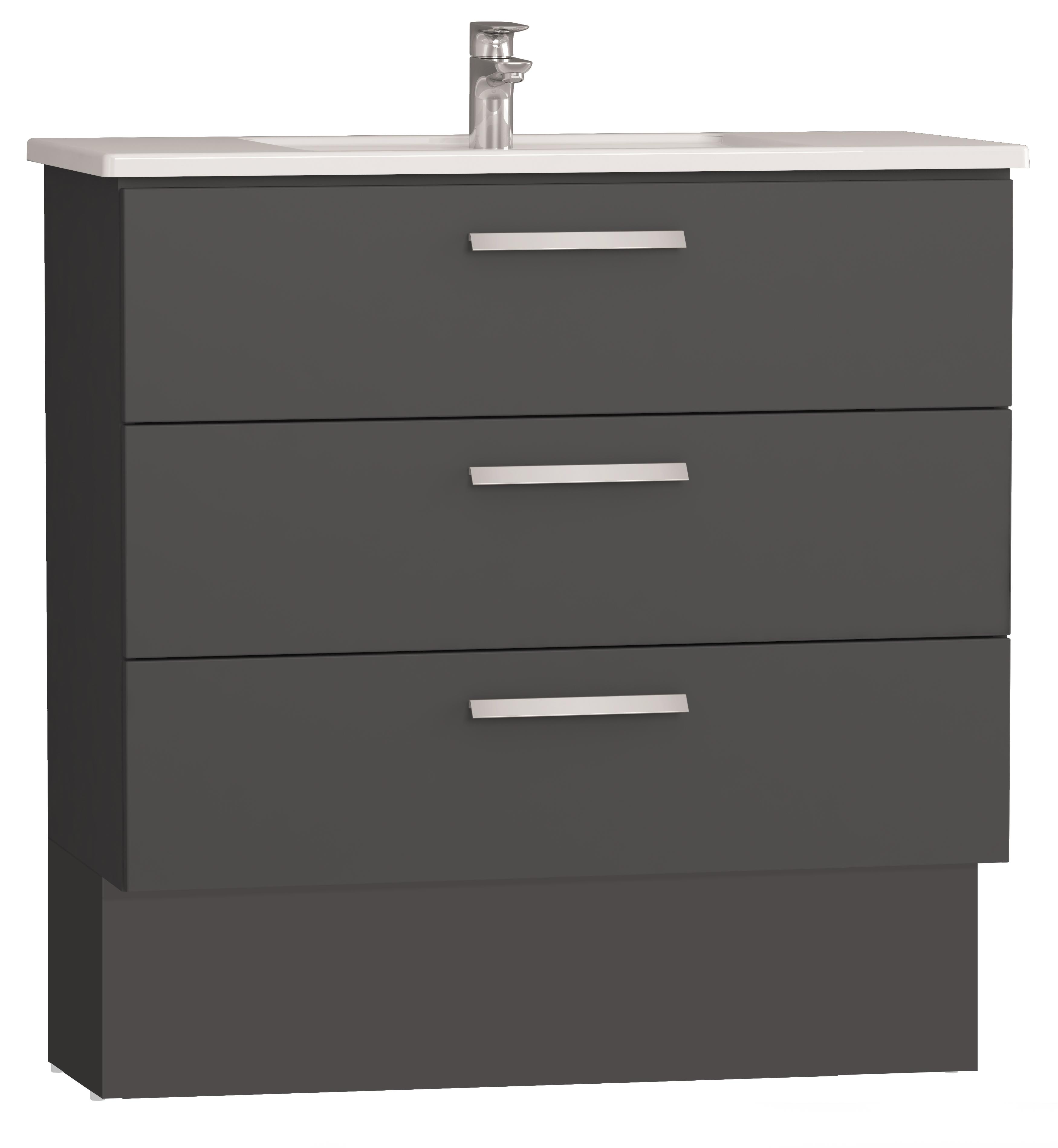 Integra socle pour meuble avec plan céramique et trois tiroirs, 100 cm, anthraciteacite haute brillance