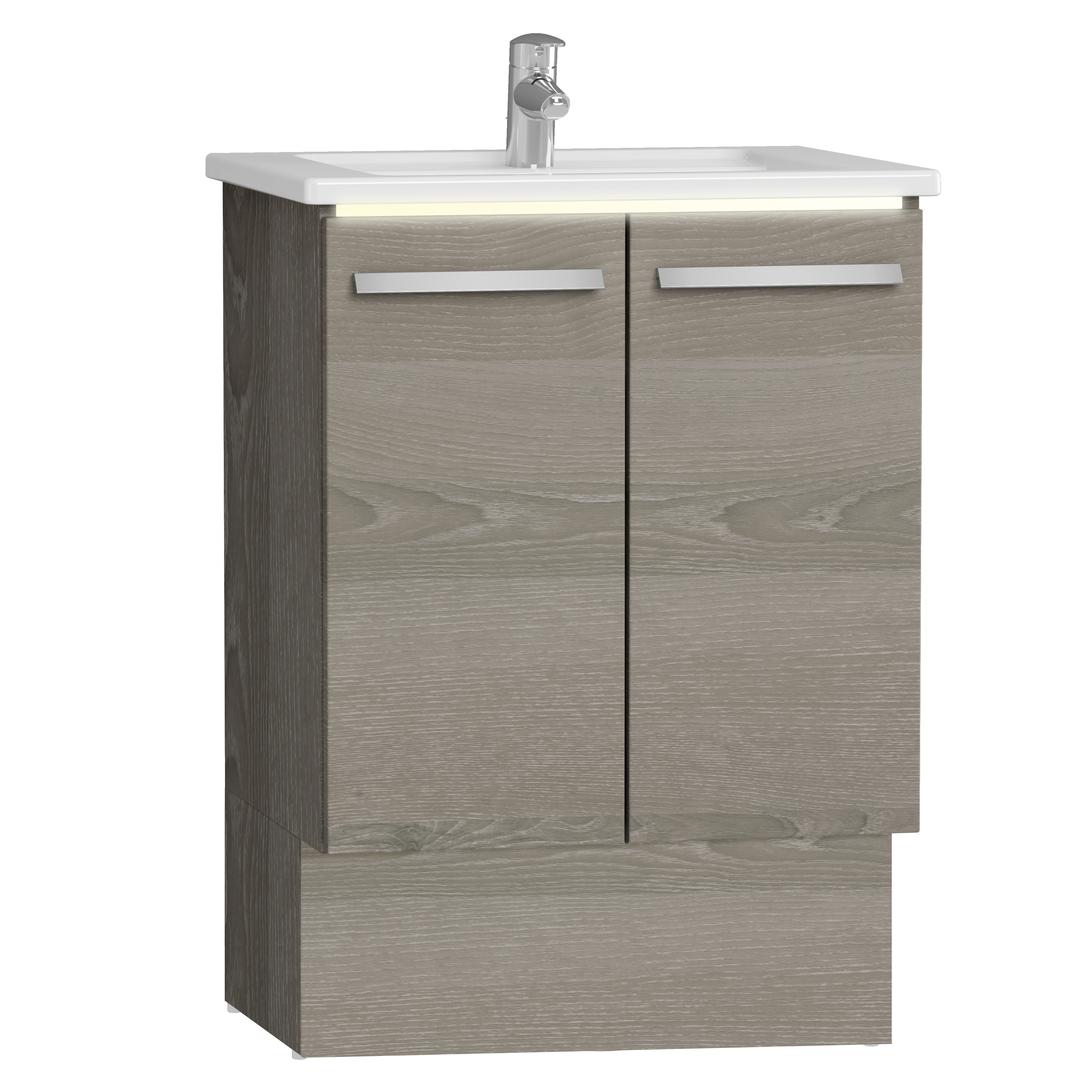 Integra socle pour meuble avec plan céramique & portes, 60 cm, chêne gris naturel