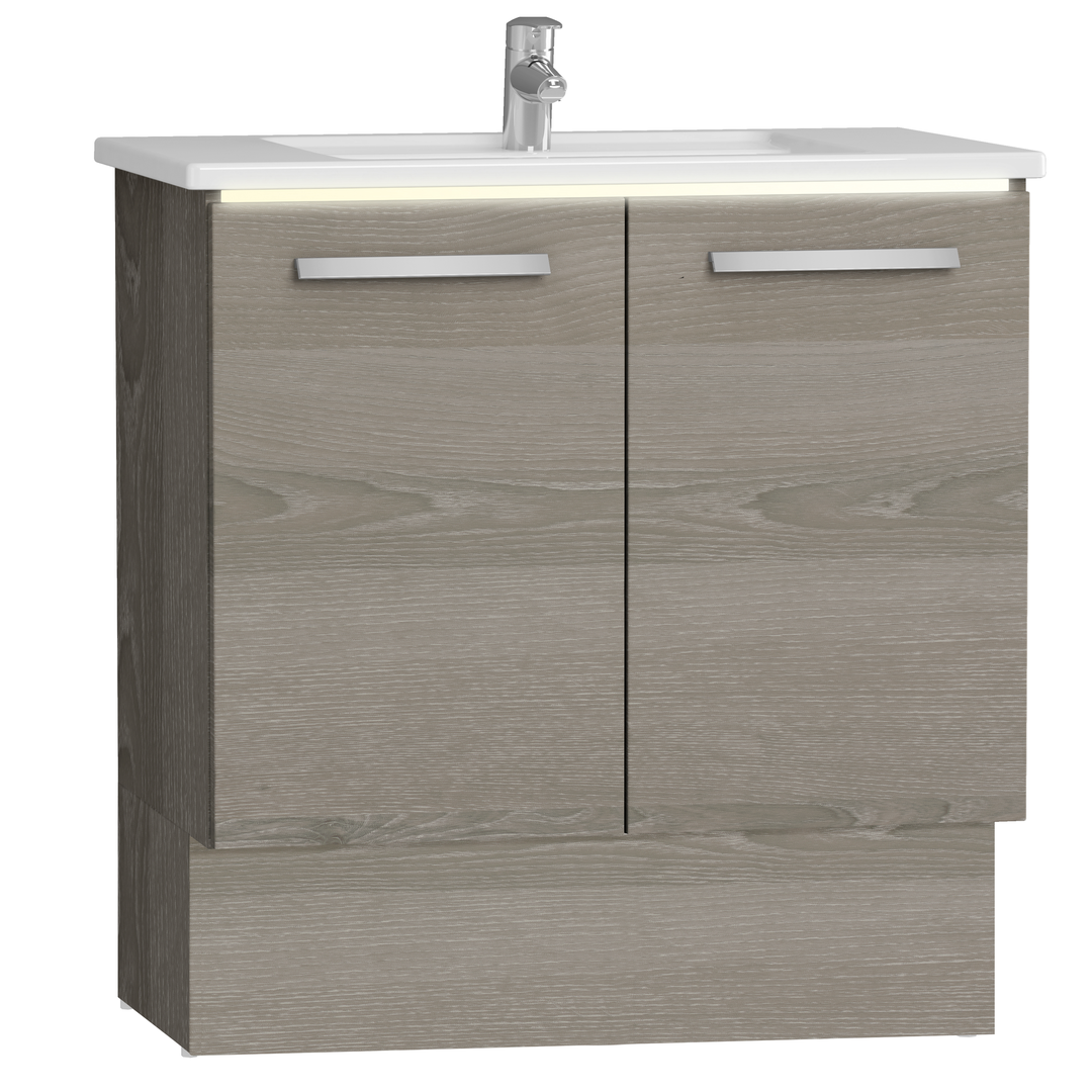 Integra socle pour meuble avec plan céramique & portes, 80 cm, chêne gris naturel