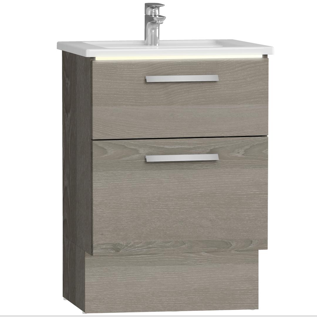 Integra socle pour meuble avec plan céramique avec deux tiroirs, 60 cm, chêne gris naturel