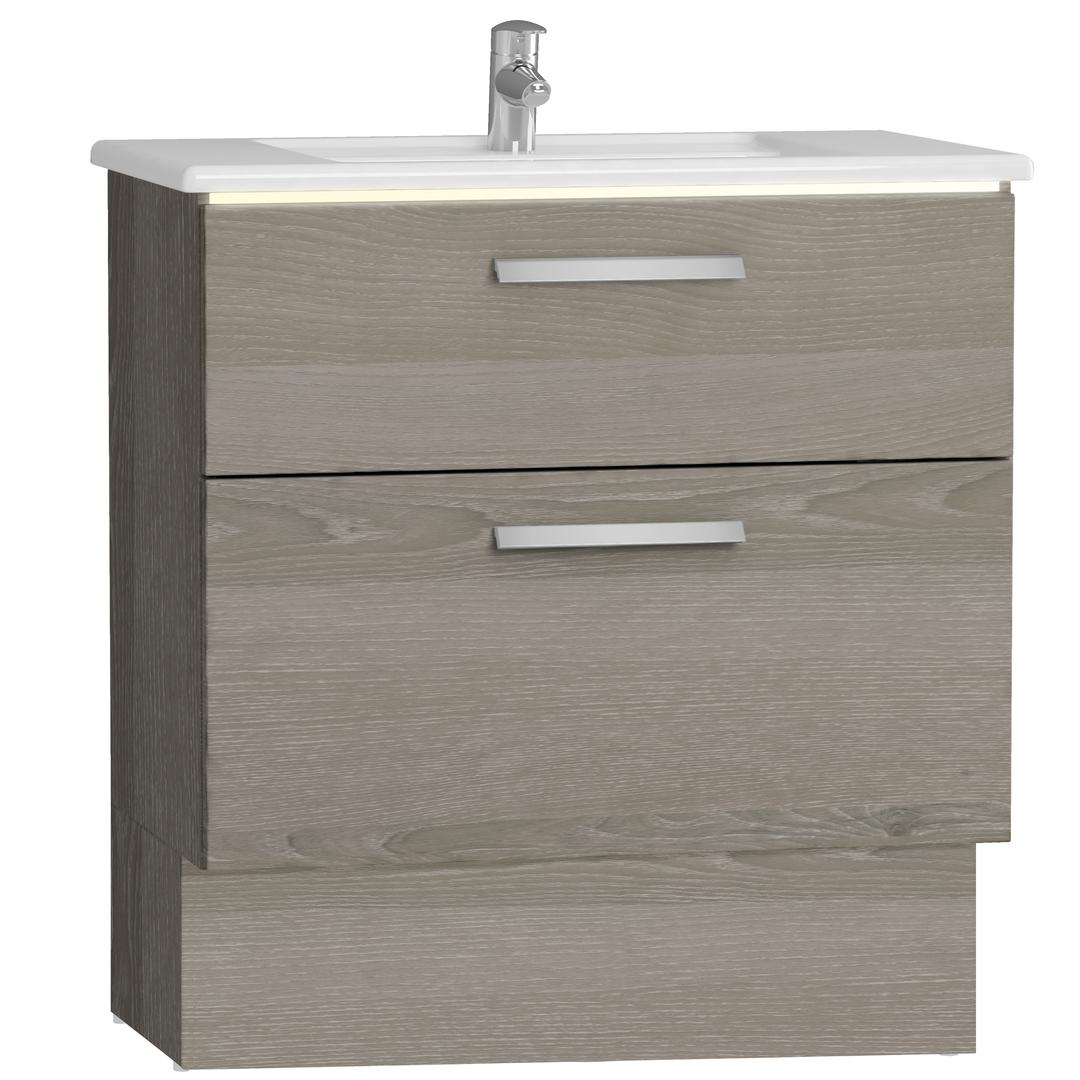 Integra socle pour meuble avec plan céramique avec deux tiroirs, 80 cm, chêne gris naturel