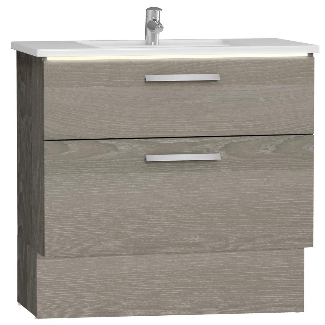 Integra socle pour meuble avec plan céramique avec deux tiroirs, 90 cm, chêne gris naturel