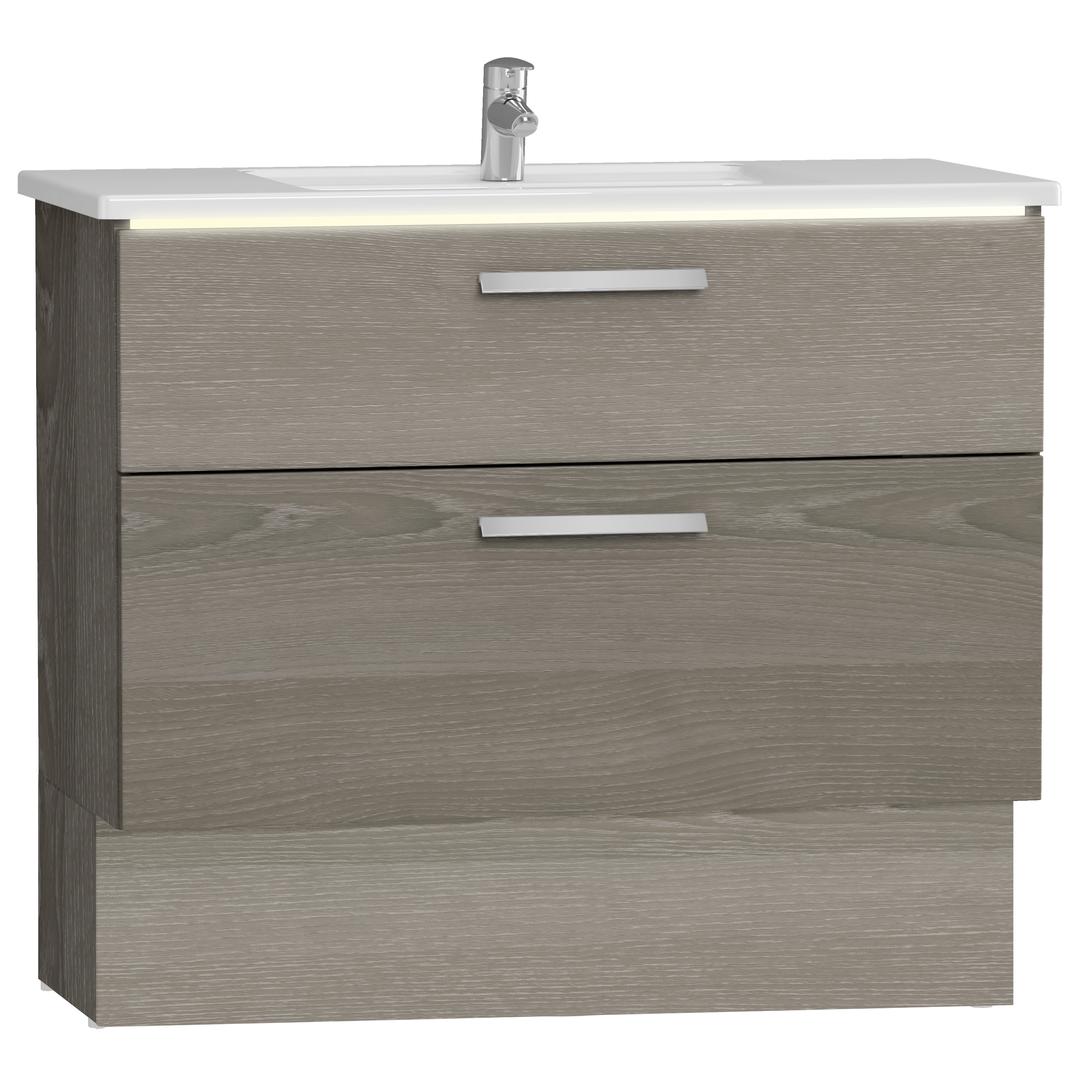 Integra socle pour meuble avec plan céramique avec deux tiroirs, 100 cm, chêne gris naturel