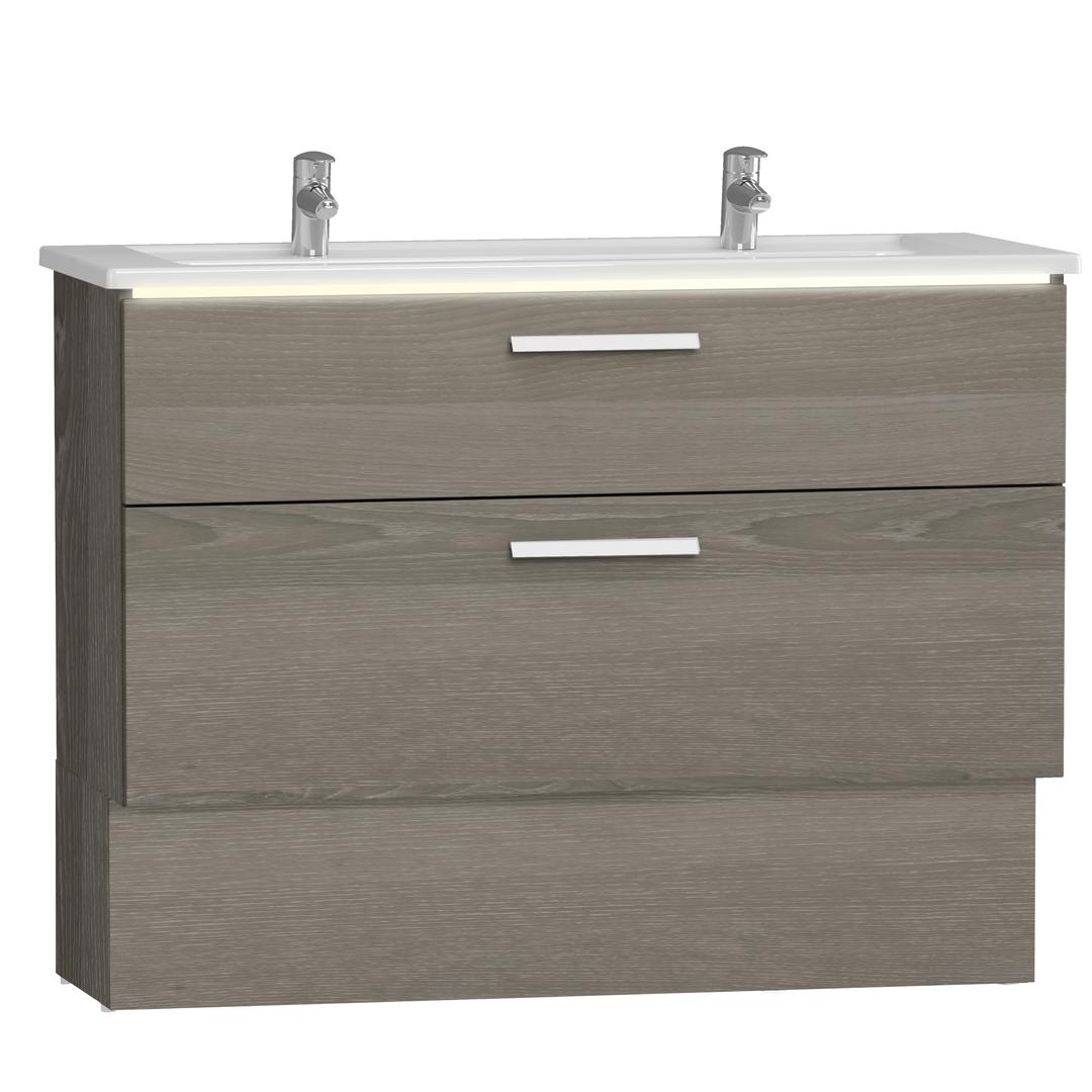 Integra socle pour meuble avec plan céramique avec deux tiroirs, 120 cm, chêne gris naturel