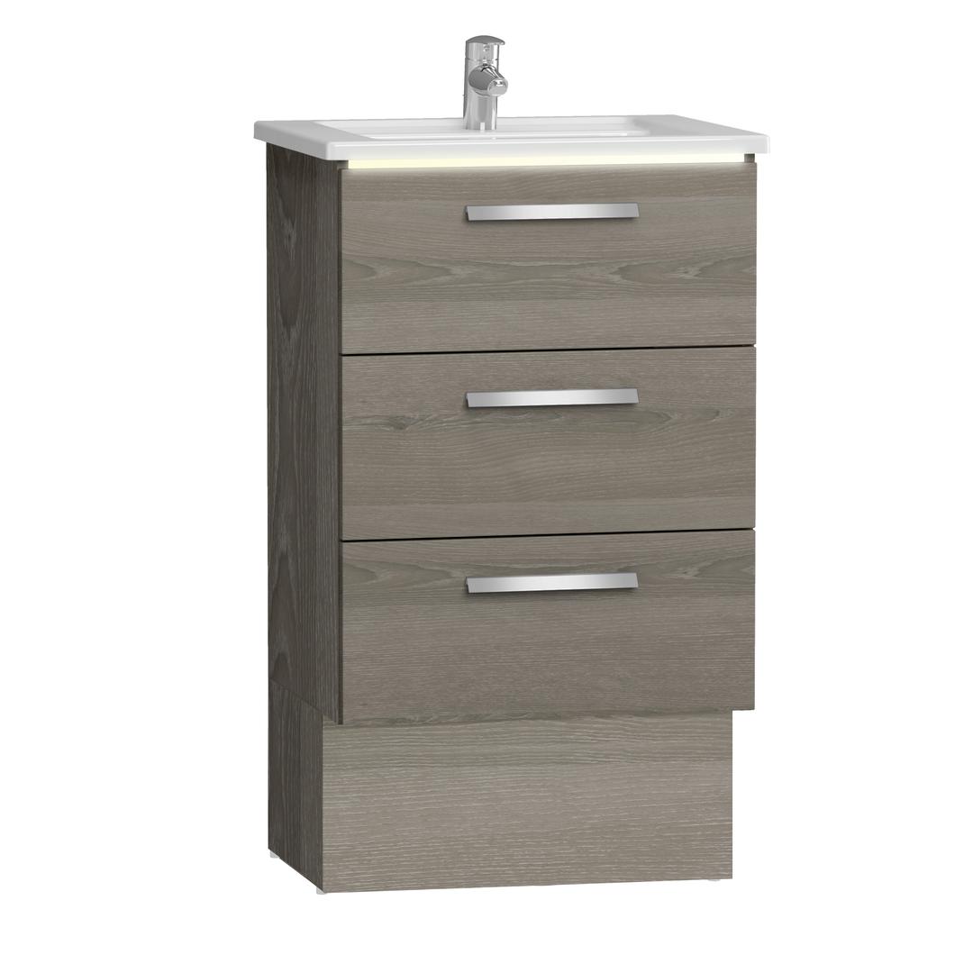 Integra socle pour meuble avec plan céramique et trois tiroirs, 60 cm, chêne gris naturel