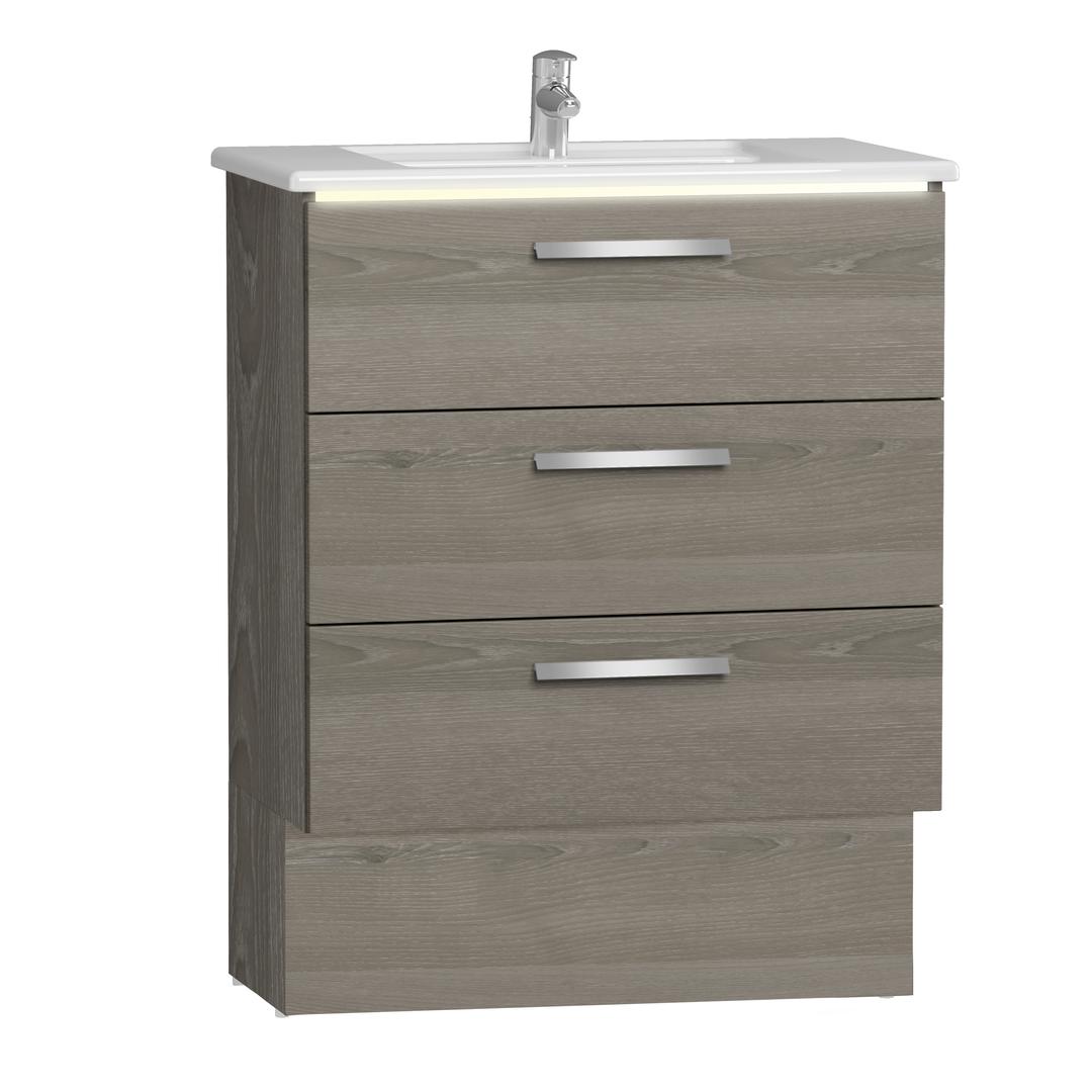 Integra socle pour meuble avec plan céramique et trois tiroirs, 80 cm, chêne gris naturel