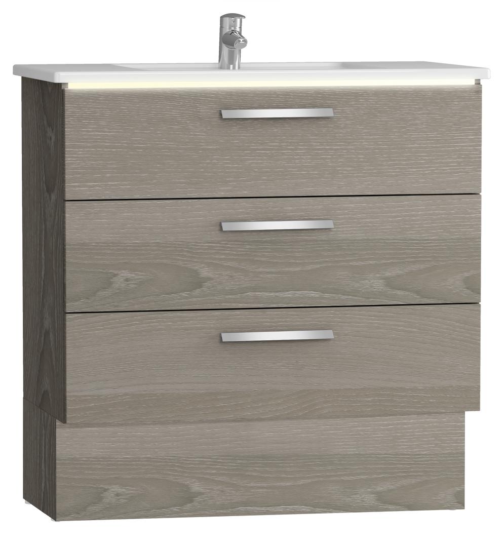 Integra socle pour meuble avec plan céramique et trois tiroirs, 90 cm, chêne gris naturel