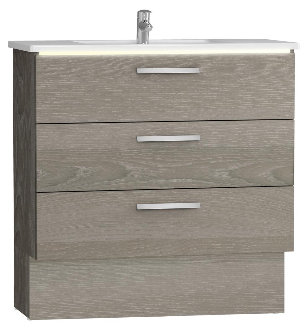 Integra socle pour meuble avec plan céramique et trois tiroirs, 100 cm, chêne gris naturel