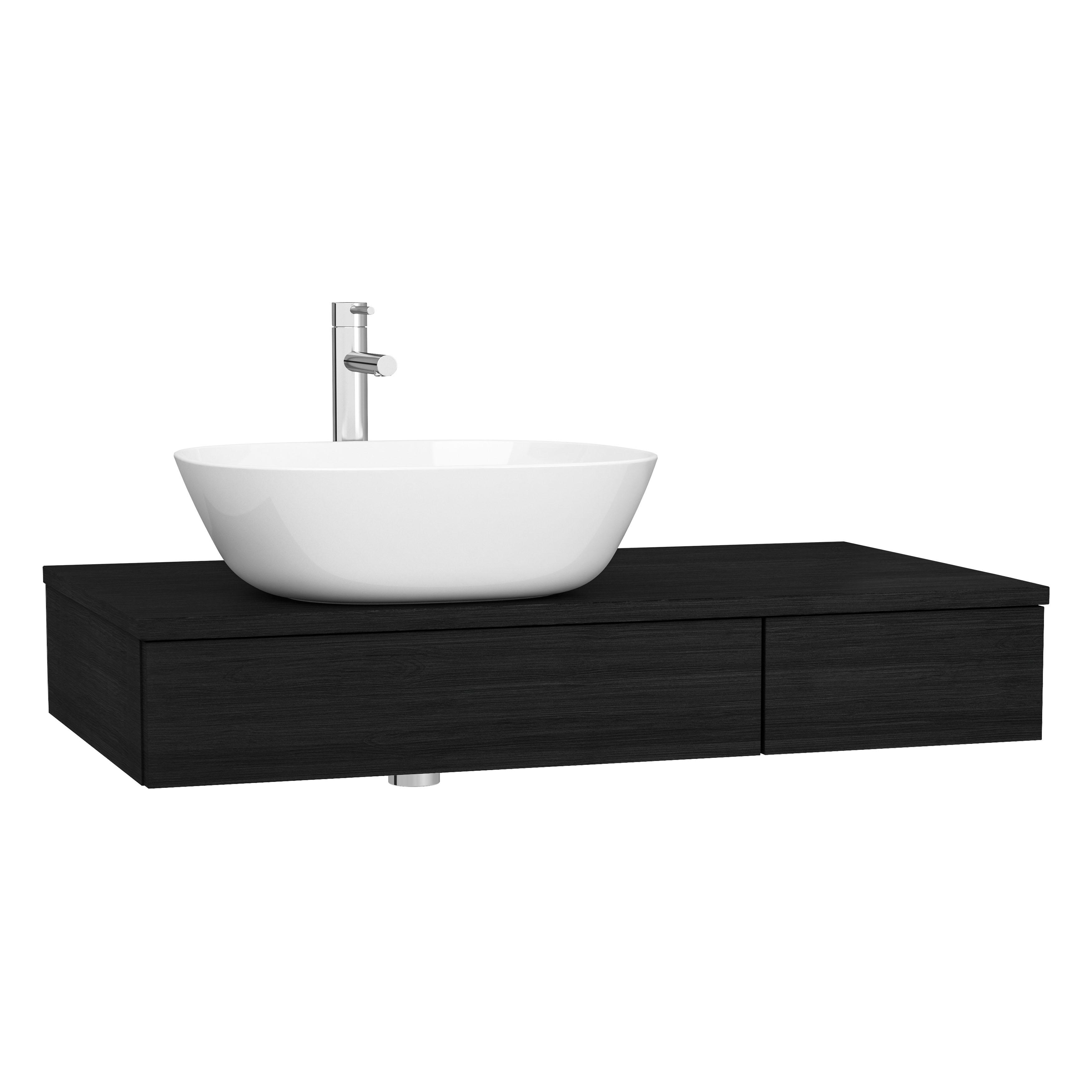 Origin plan de toilette avec tiroir, 90 cm, chêne noir structure, gauche