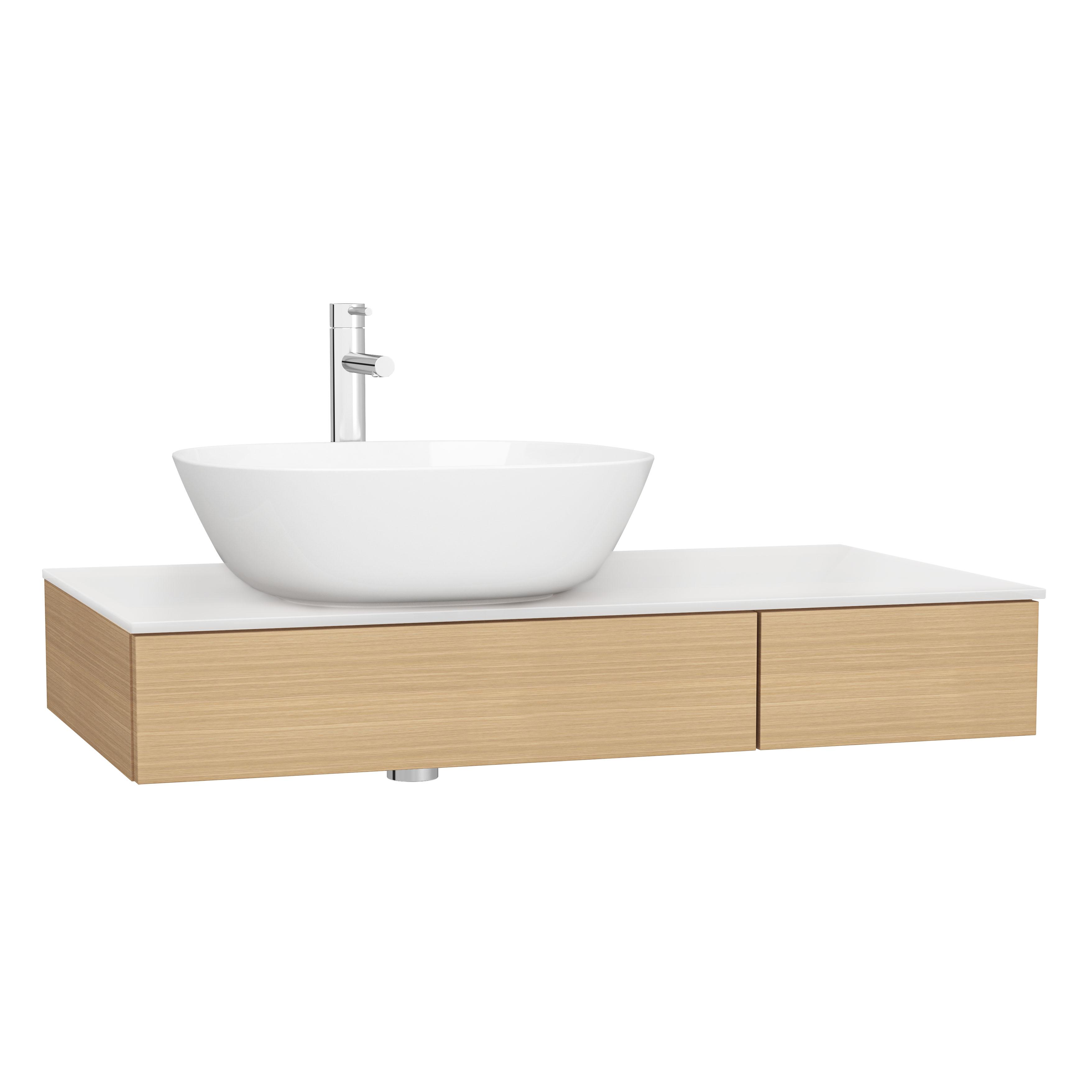 Origin plan de toilette avec tiroir, 90 cm, chêne ferrera, gauche