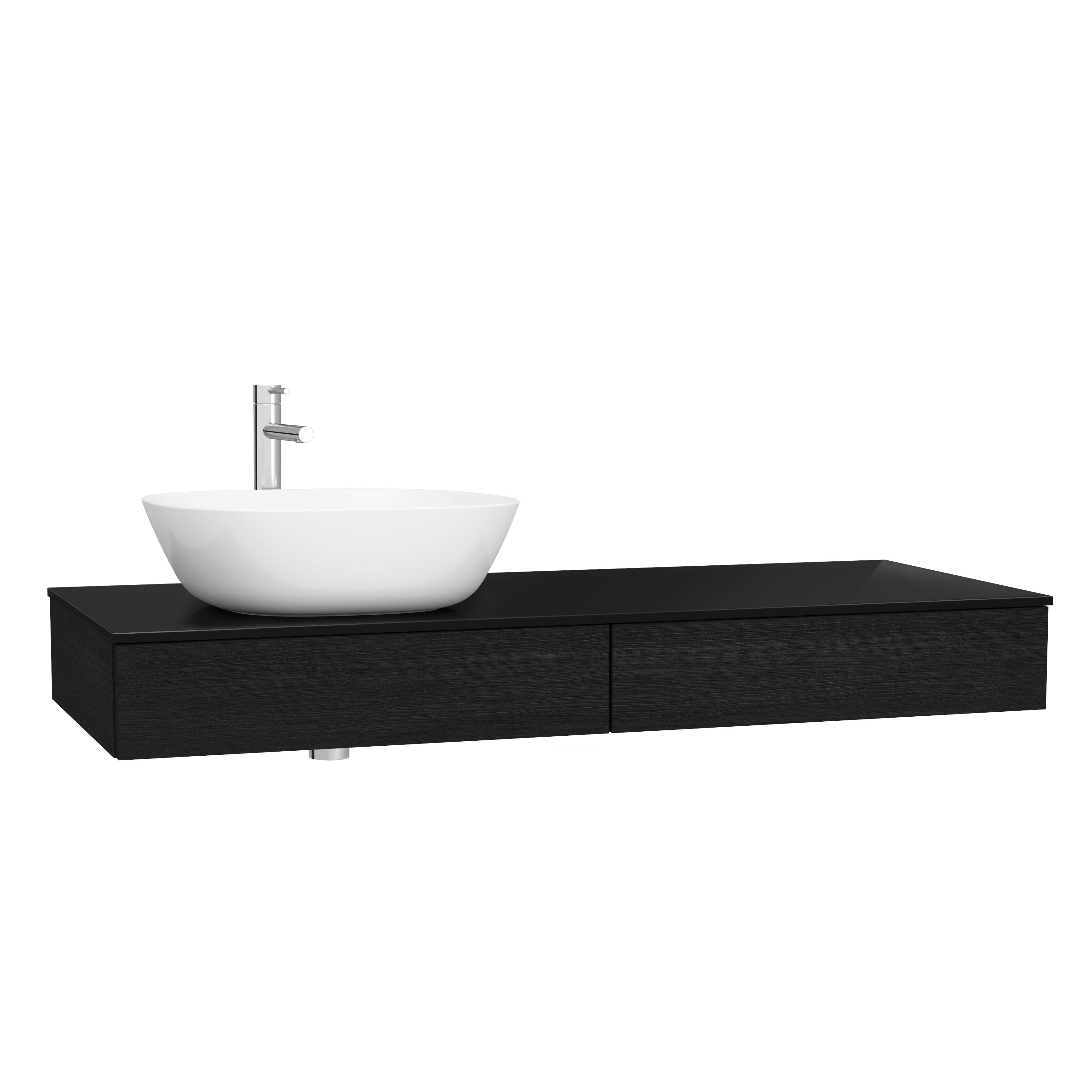 Origin plan de toilette avec tiroir, 120 cm, chêne noir structure, gauche