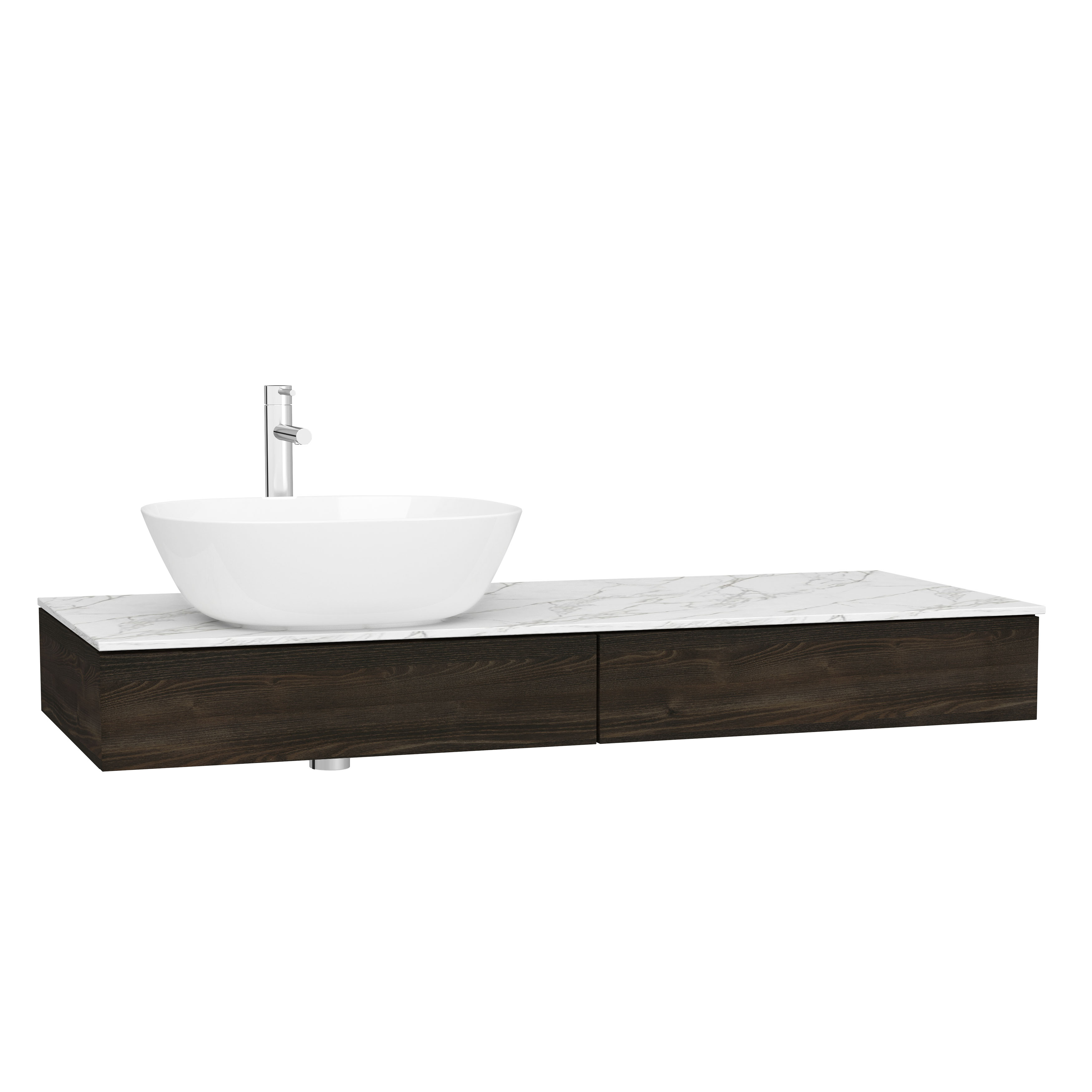 Origin plan de toilette avec tiroir, 120 cm, orme, gauche
