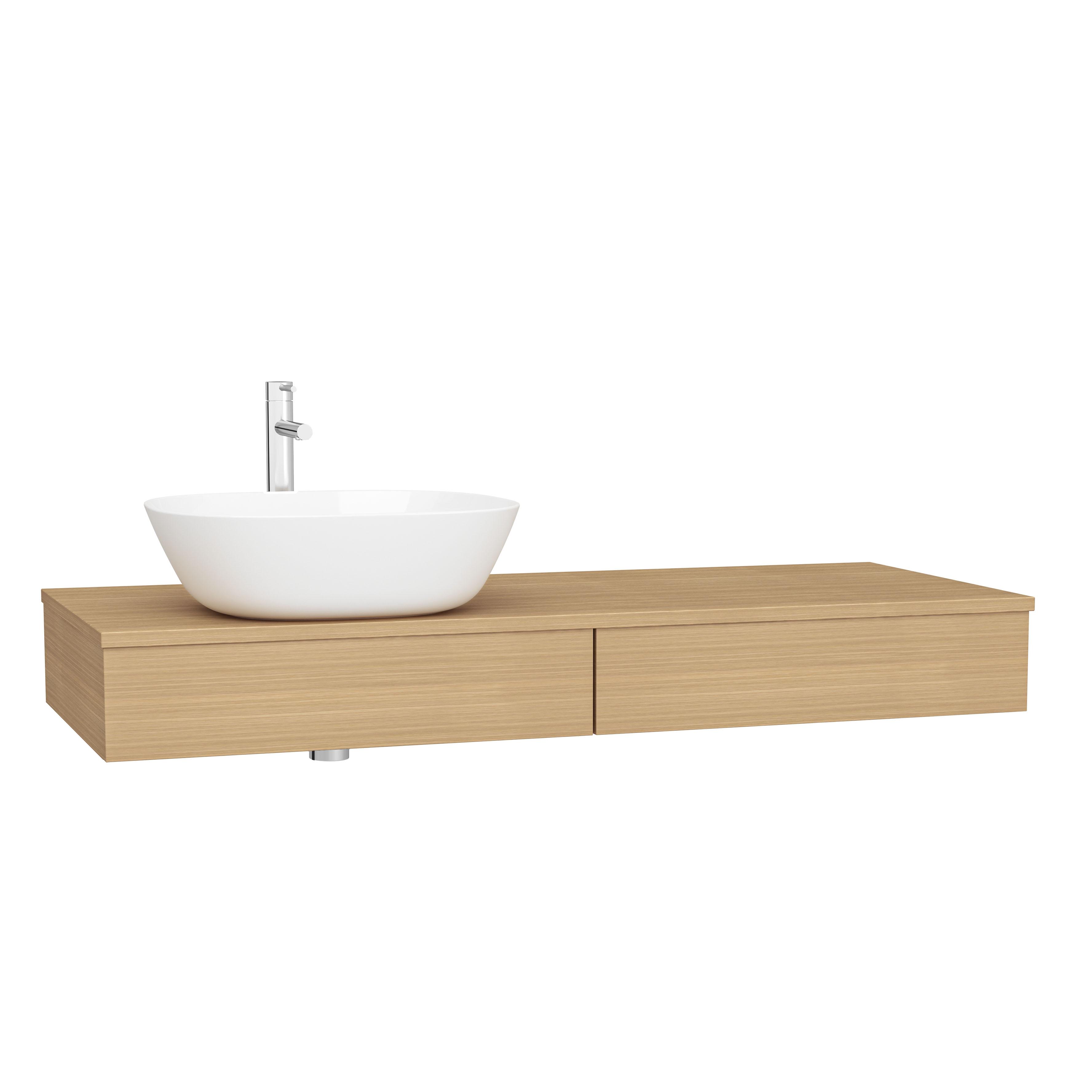 Origin plan de toilette avec tiroir, 120 cm, chêne ferrera, gauche