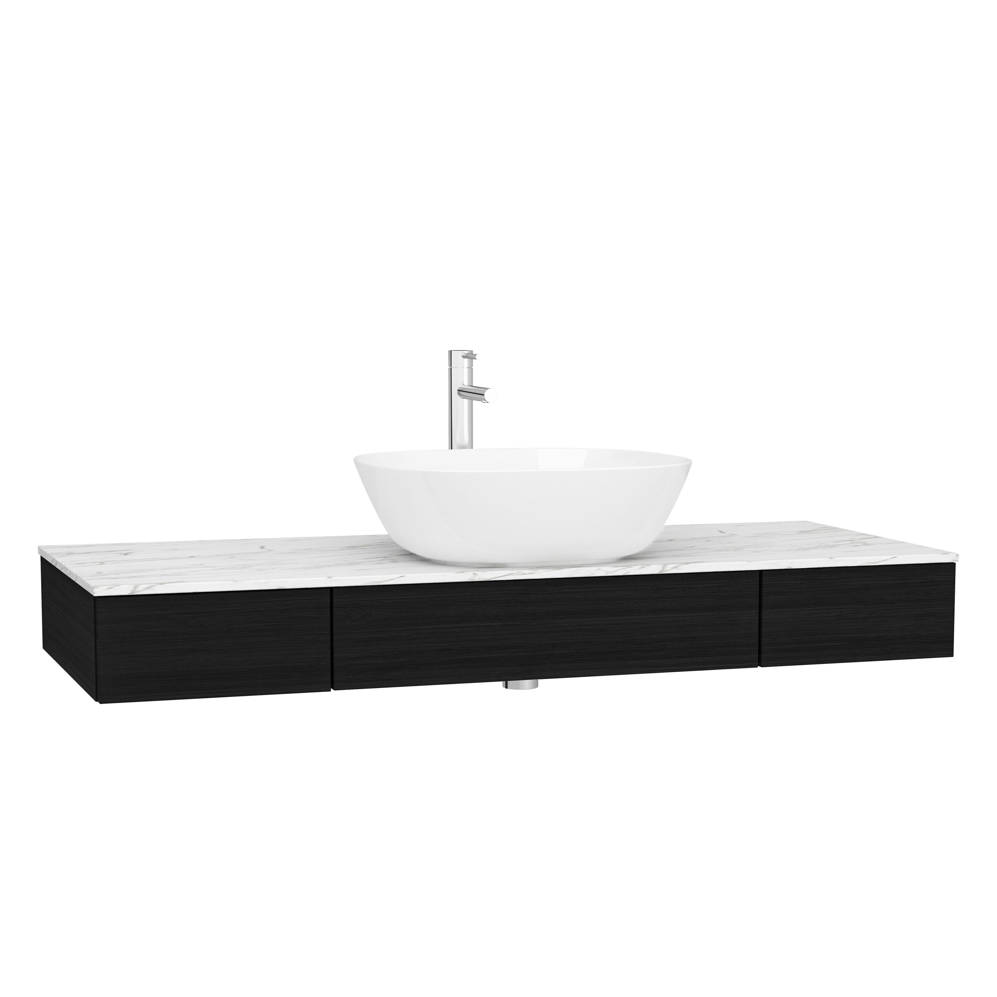 Origin plan de toilette avec tiroir, 120 cm, chêne noir structure, centre