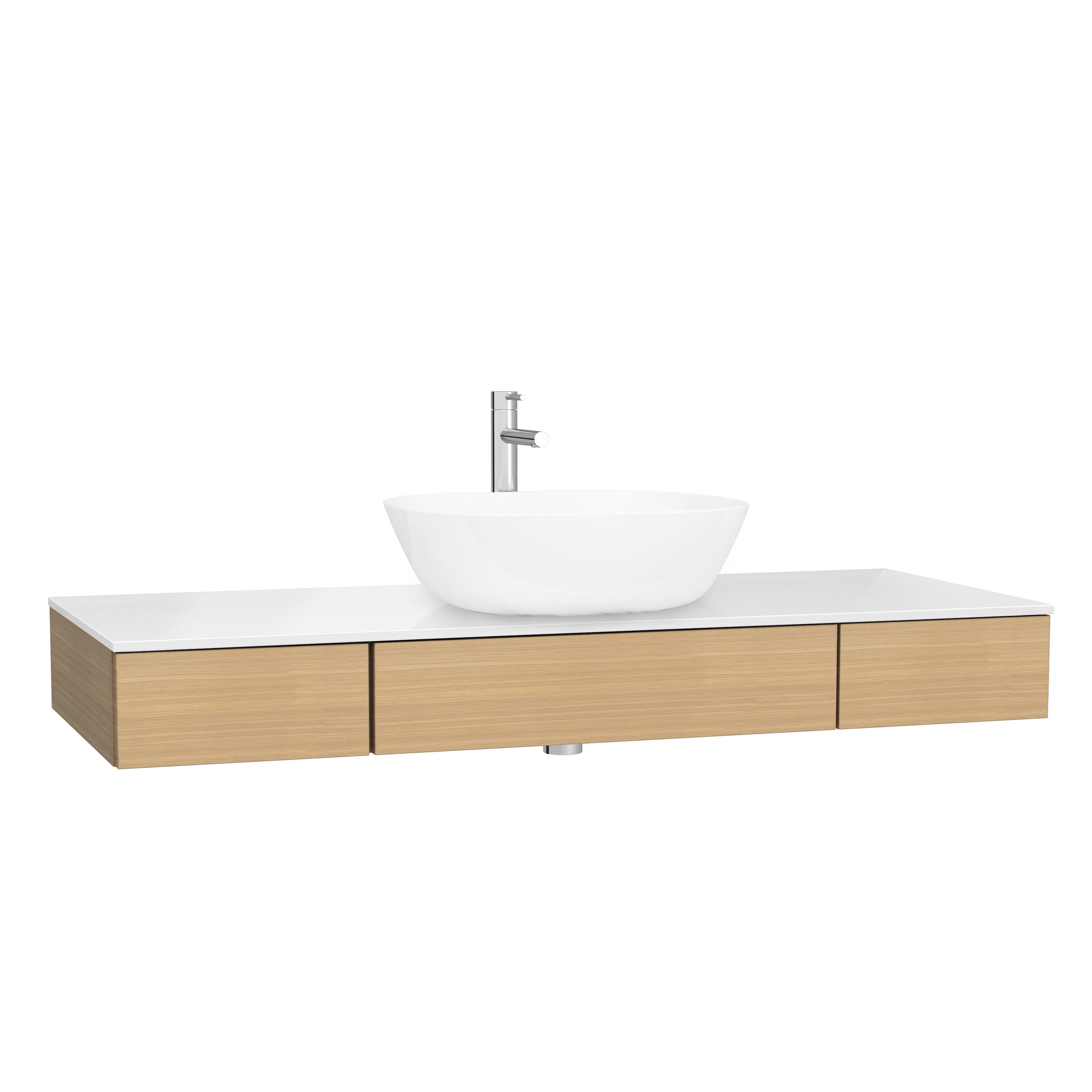 Origin plan de toilette avec tiroir, 120 cm, chêne ferrera, centre