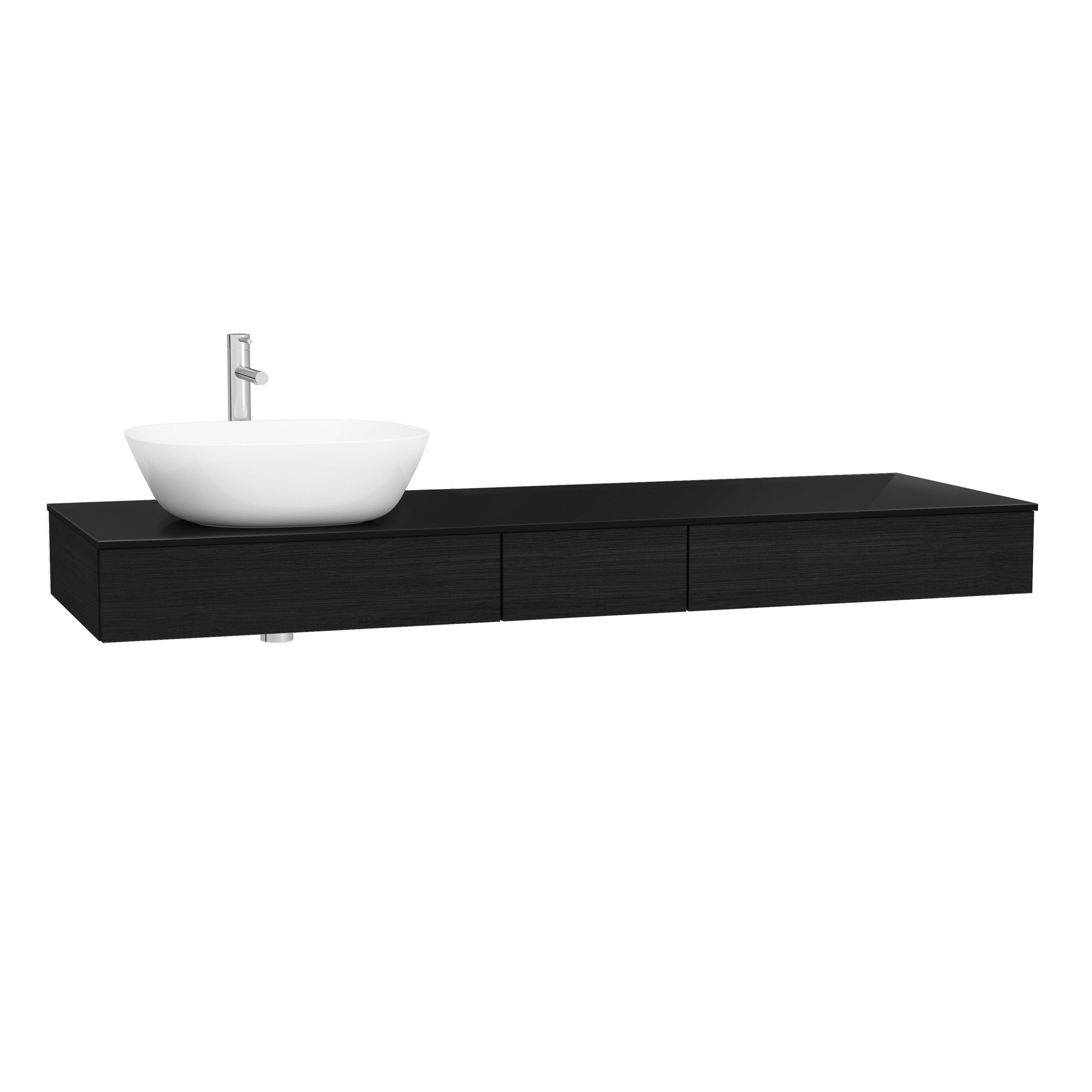 Origin plan de toilette avec tiroir, 150 cm, chêne noir structure, gauche