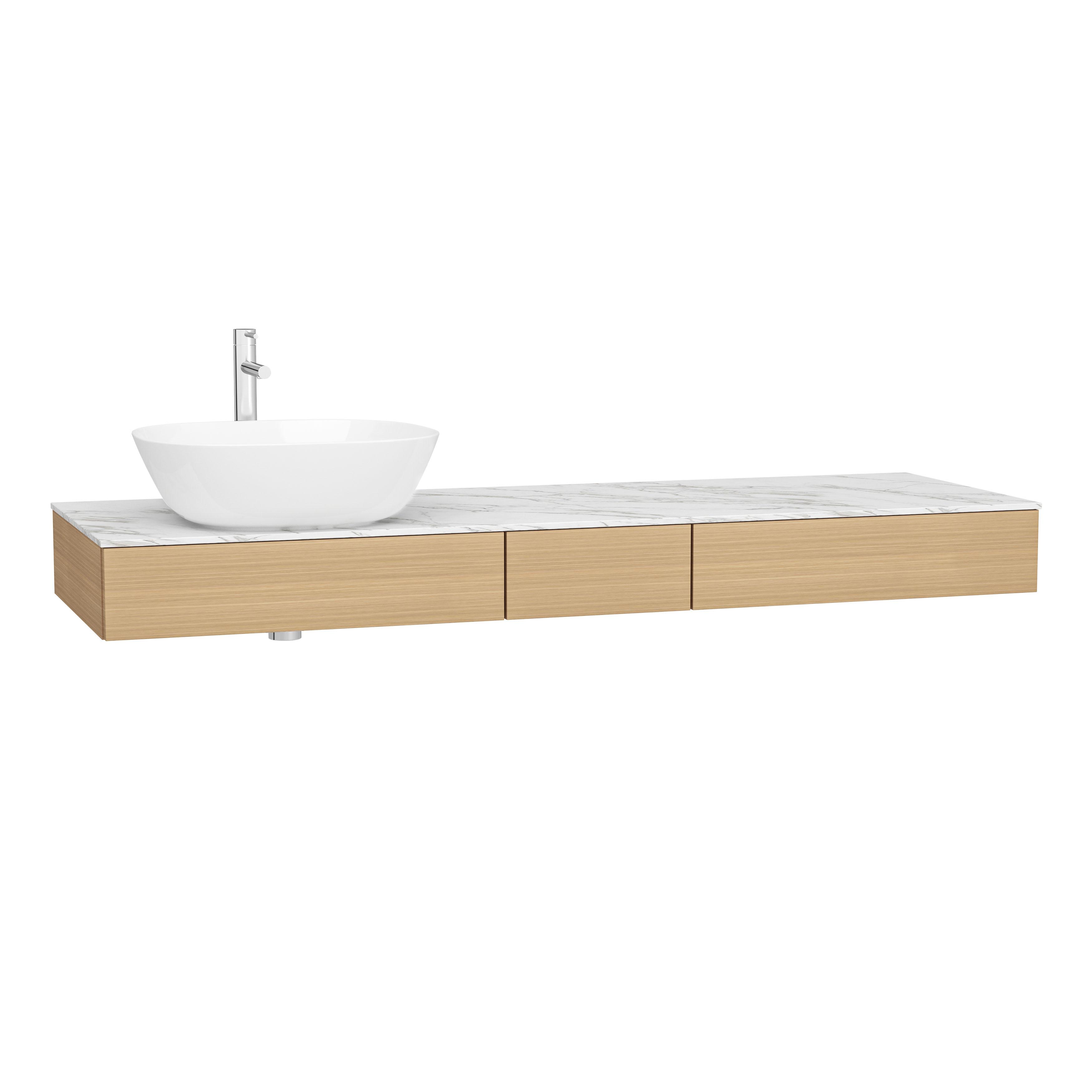 Origin plan de toilette avec tiroir, 150 cm, chêne ferrera, gauche
