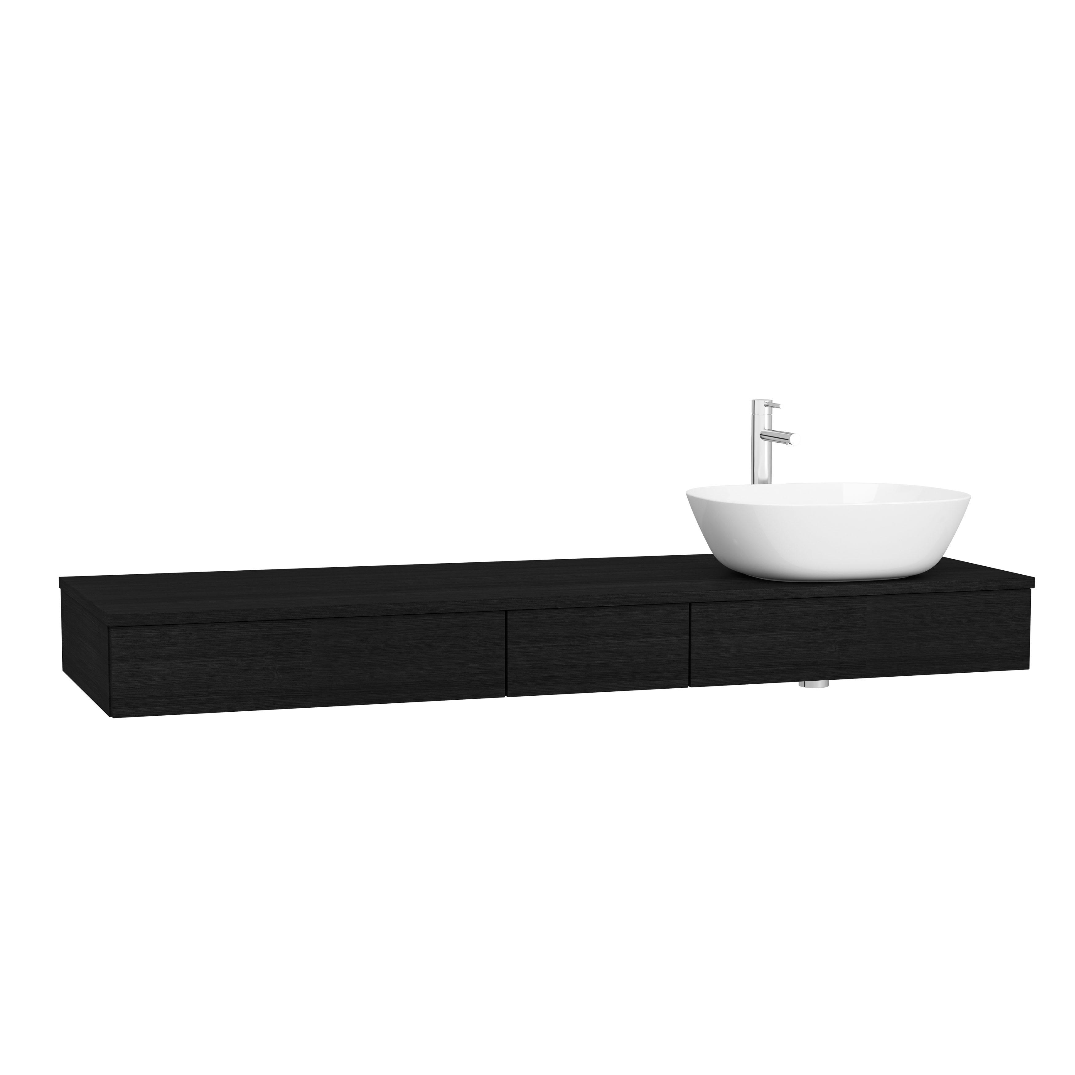 Origin plan de toilette avec tiroir, 150 cm, chêne noir structure, droite