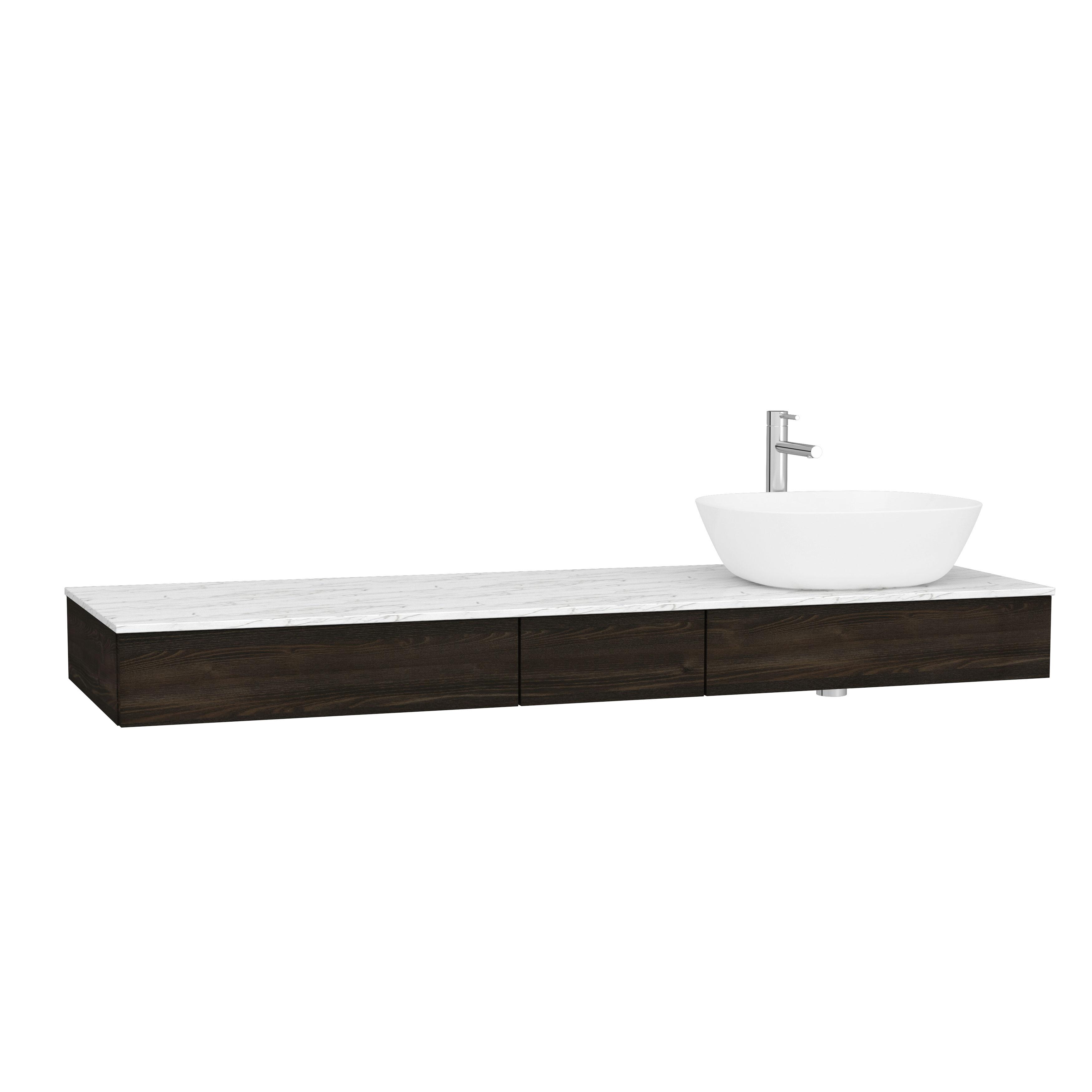 Origin plan de toilette avec tiroir, 150 cm, orme, droite
